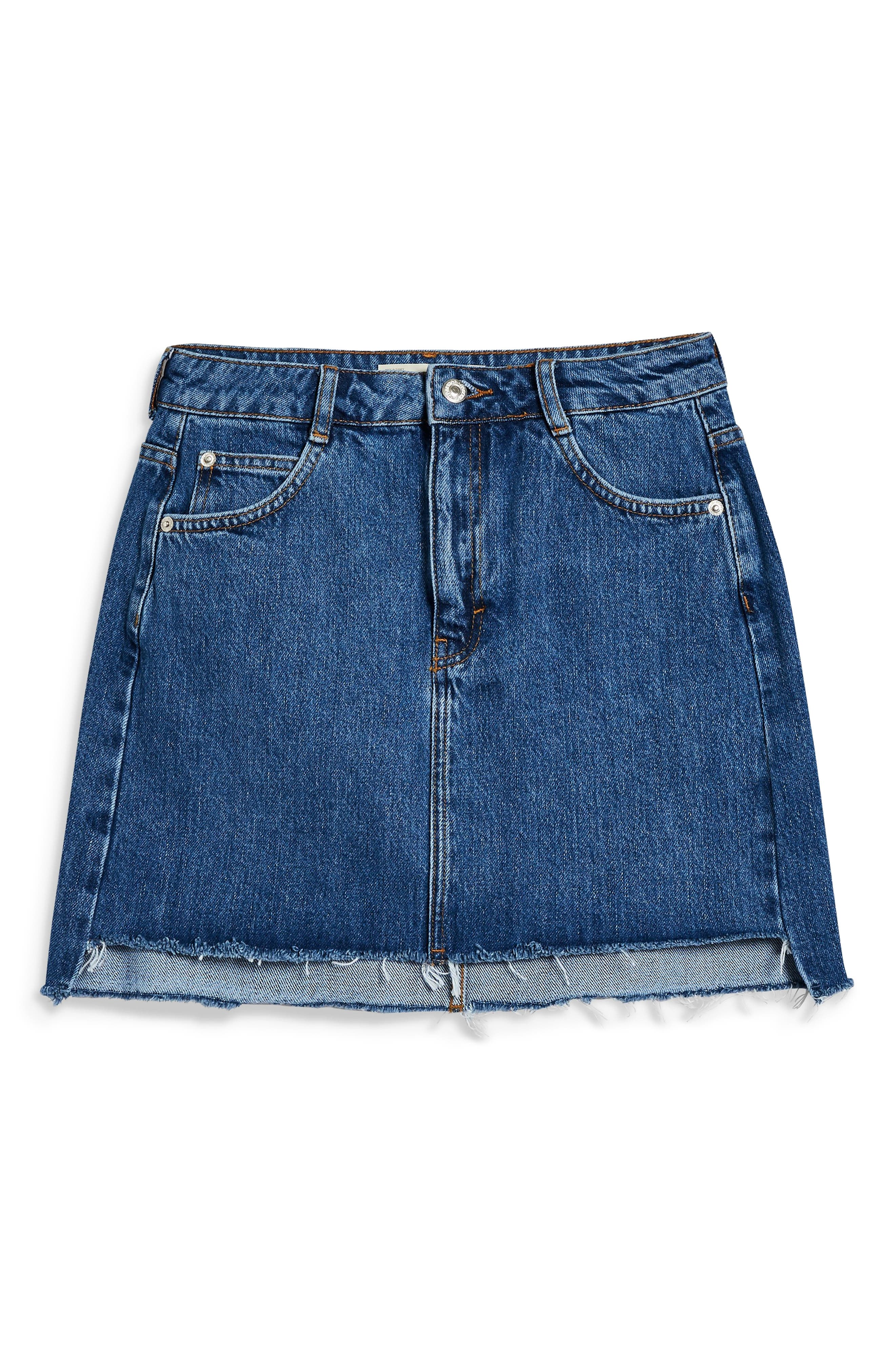 TOPSHOP,                             Step Hem Denim Skirt,                             Alternate thumbnail 5, color,                             MID DENIM