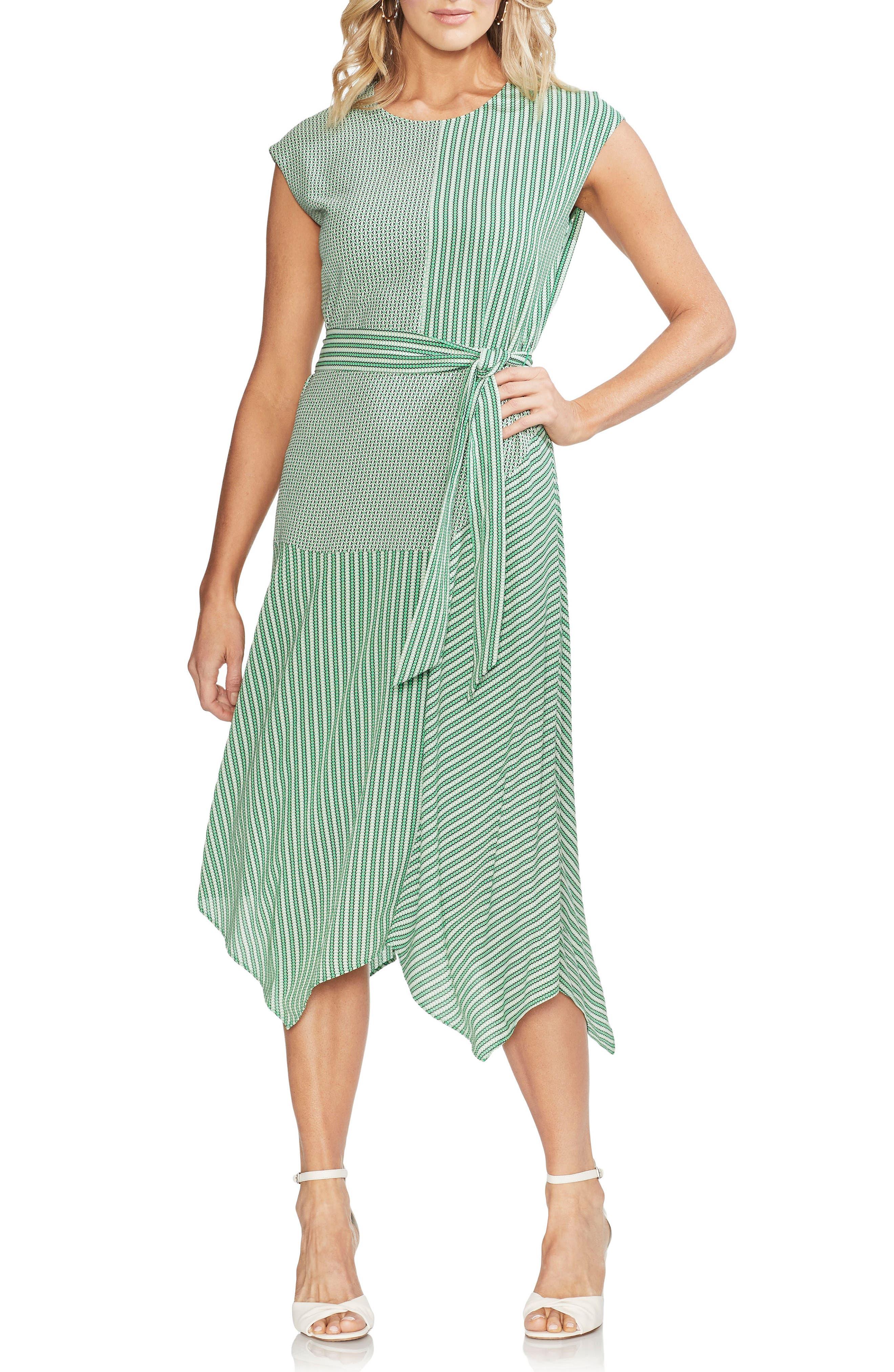 Vince Camuto Linear Motion Midi Dress, Green