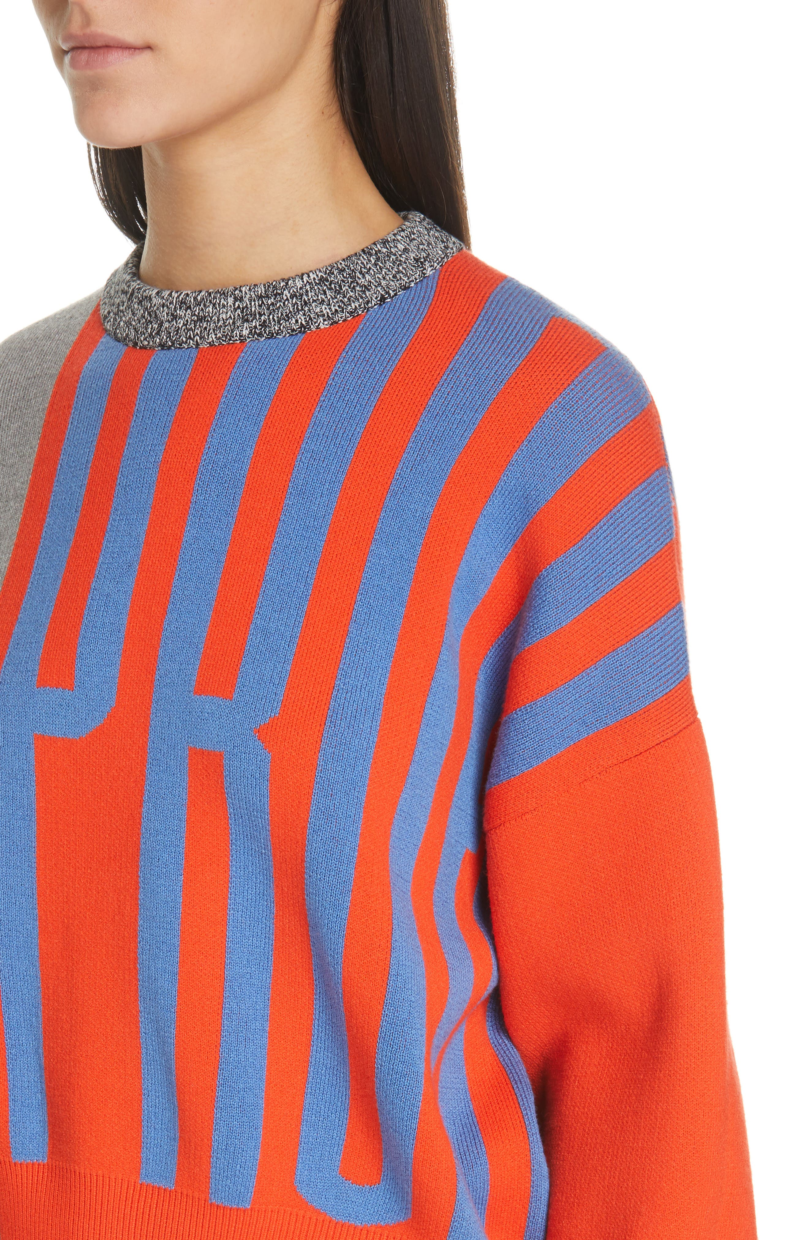 PSWL Graphic Logo Sweater,                             Alternate thumbnail 4, color,                             BRIGHT RED COMBO