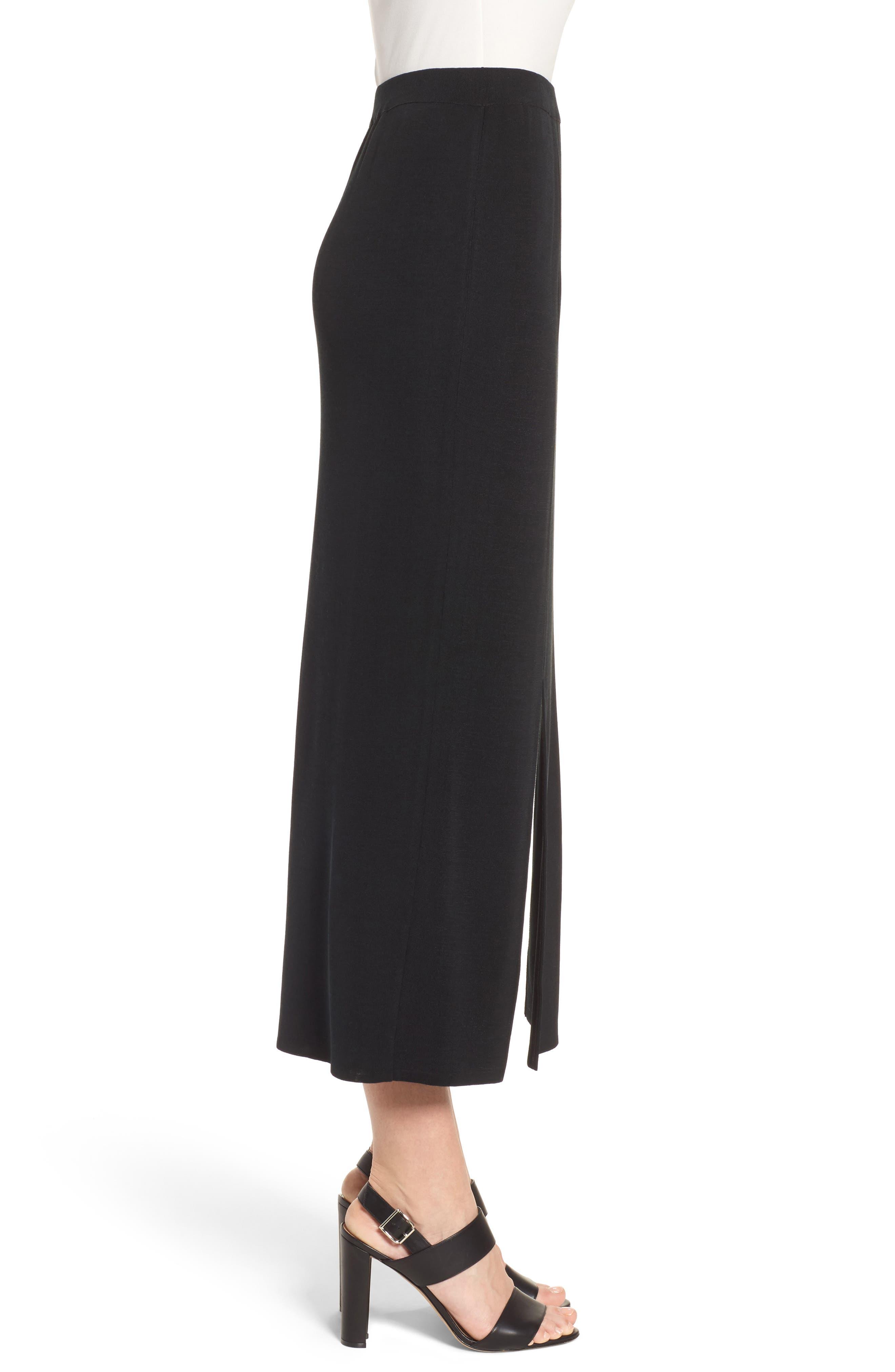 MING WANG,                             Double Slit Maxi Skirt,                             Alternate thumbnail 3, color,                             001