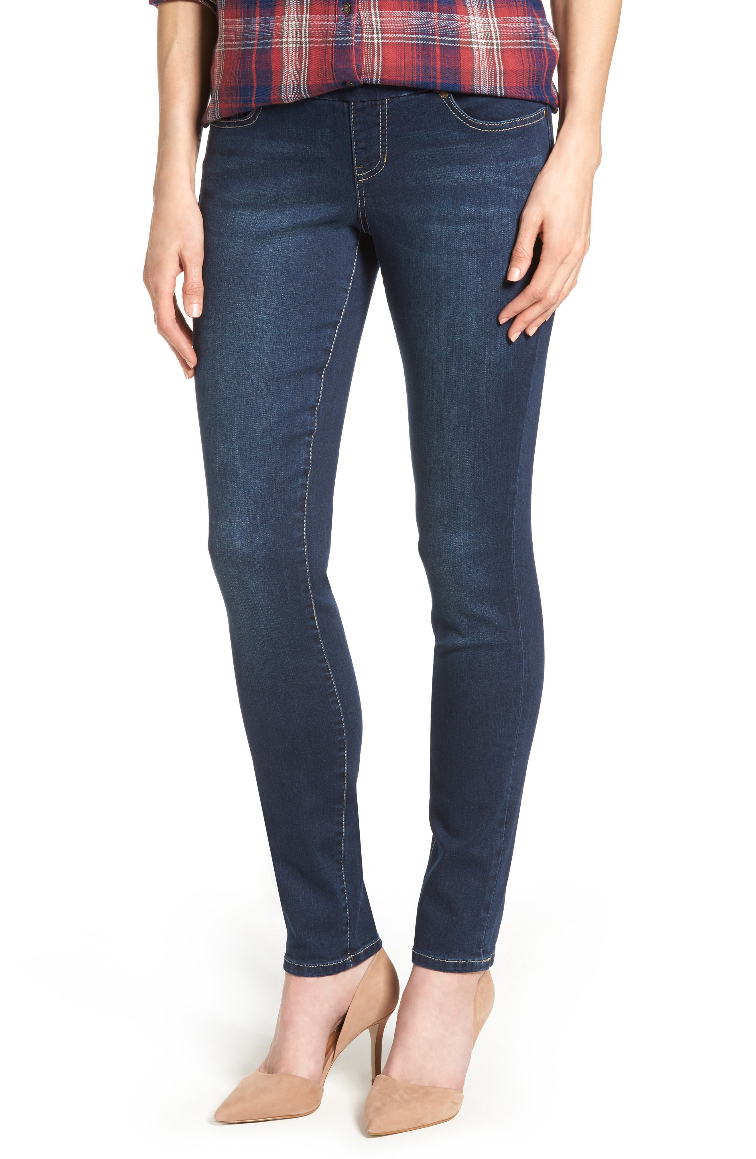 Nora Stretch Skinny Jeans,                             Main thumbnail 1, color,                             DARK INDIGO