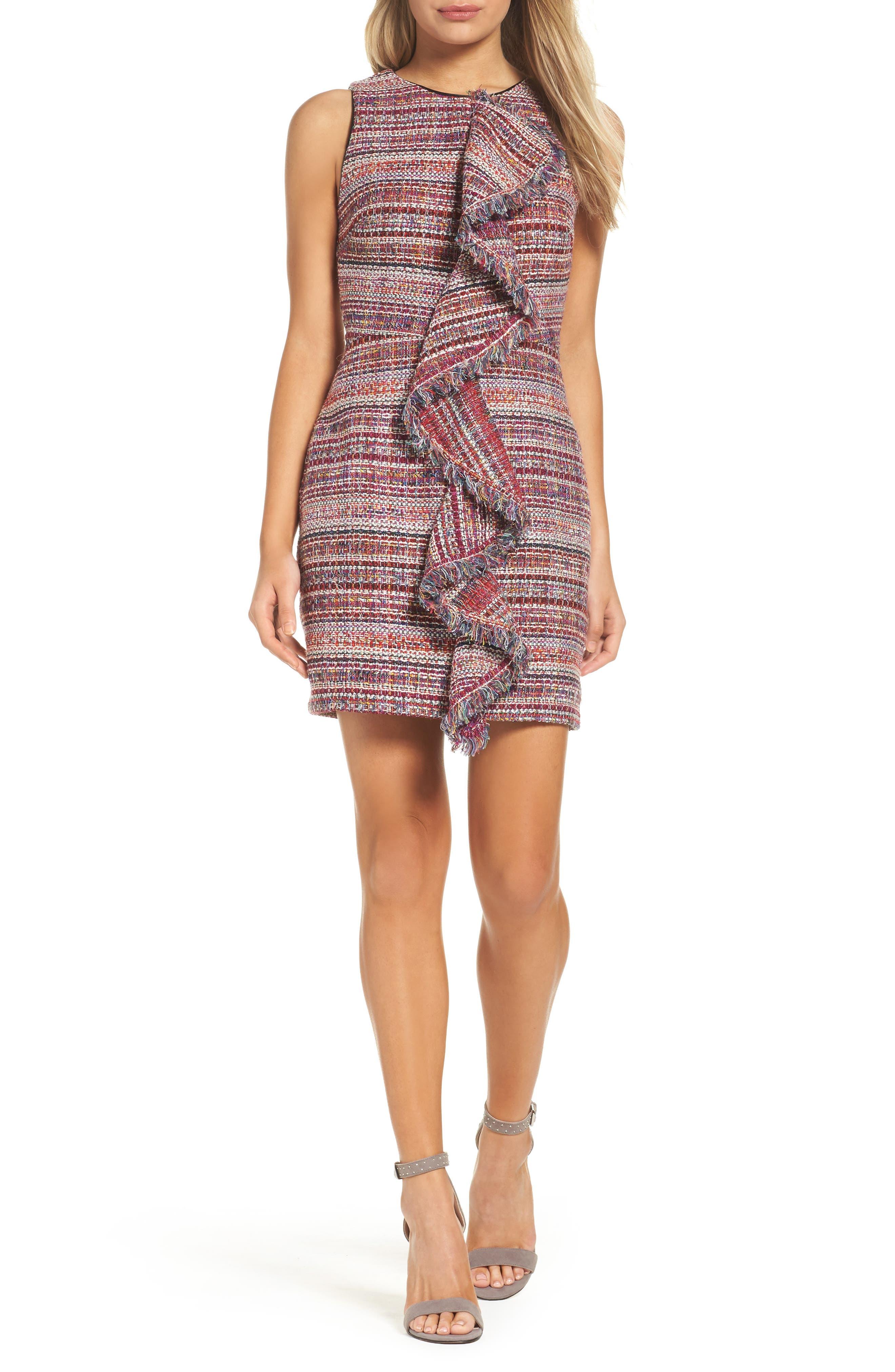 Jamie Ruffle Jacquard Sheath Dress,                             Main thumbnail 1, color,                             510
