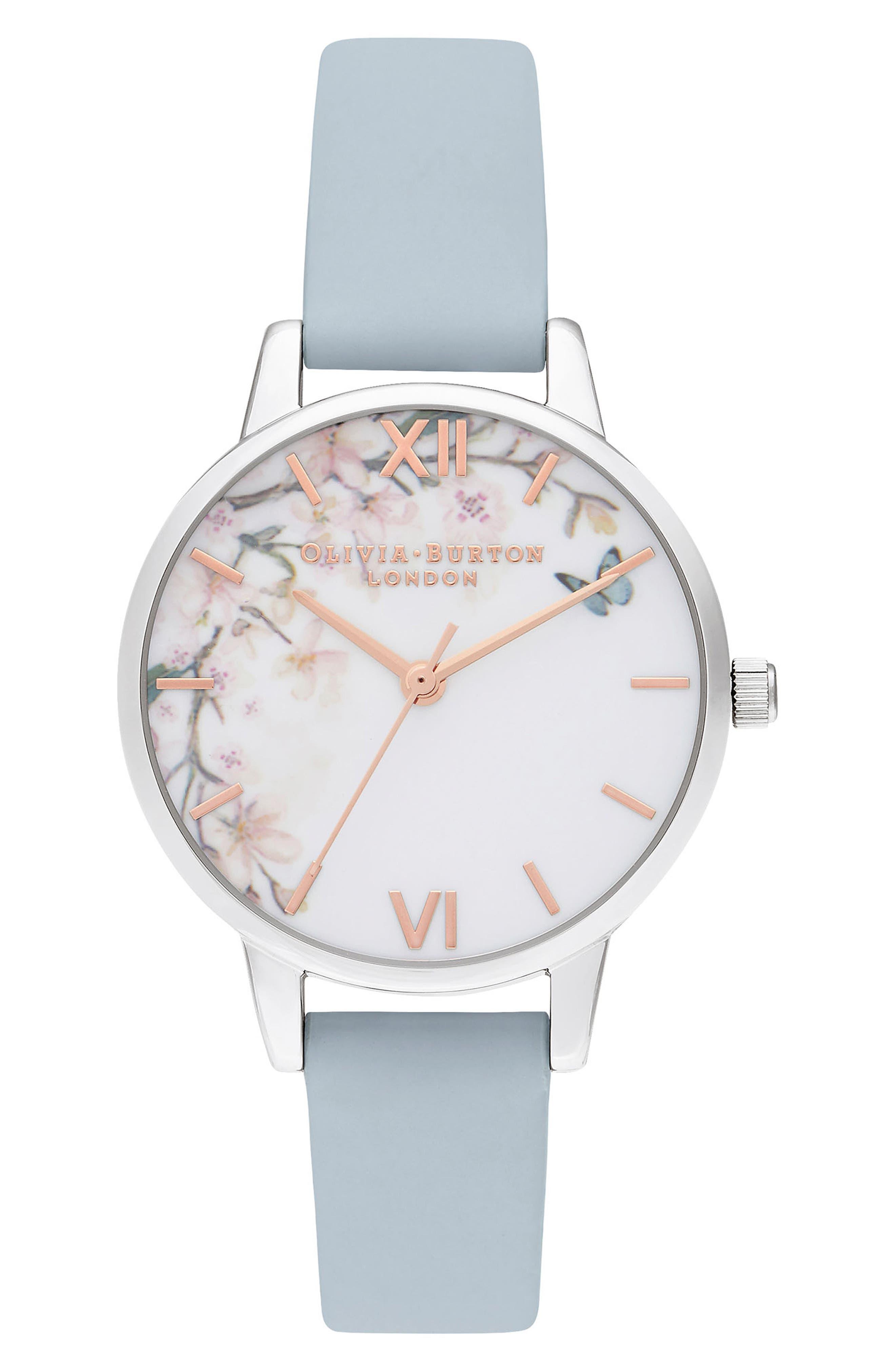 Pretty Blossom Leather Strap Watch, 30mm, Main, color, CHALK/ WHITE/ BLOSSOM/ SILVER