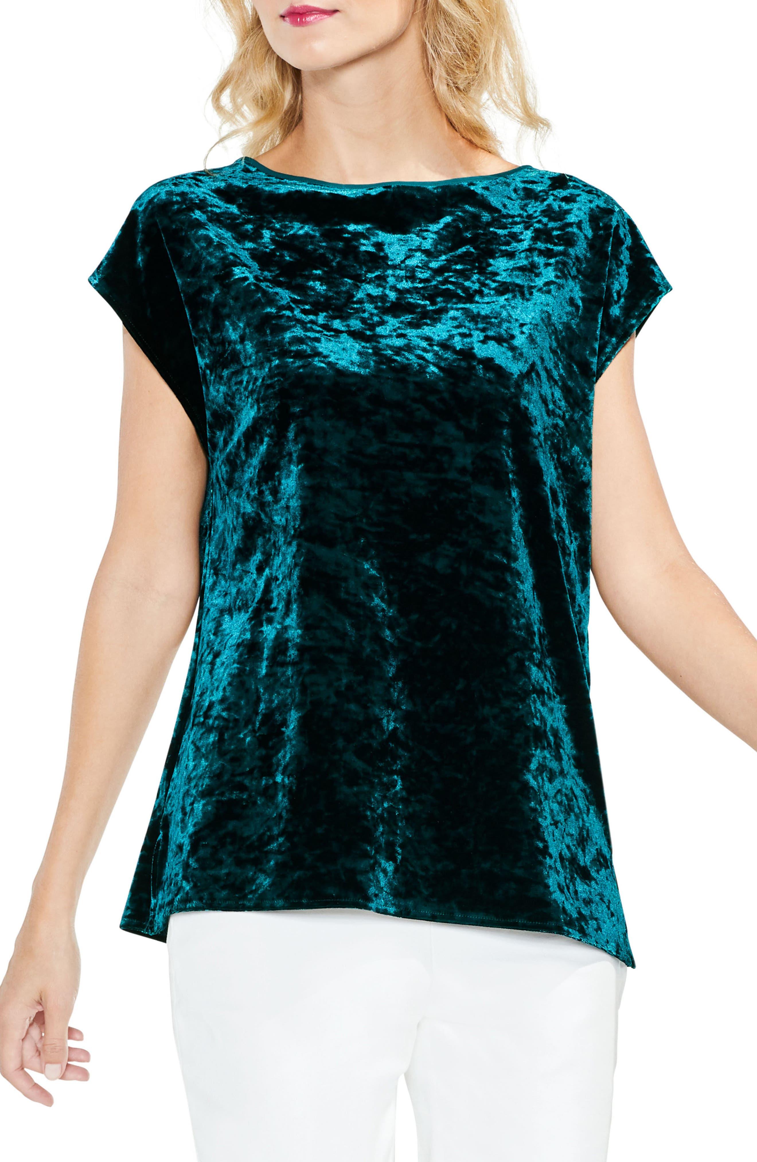 Extended Shoulder Crushed Velvet Top,                             Main thumbnail 2, color,