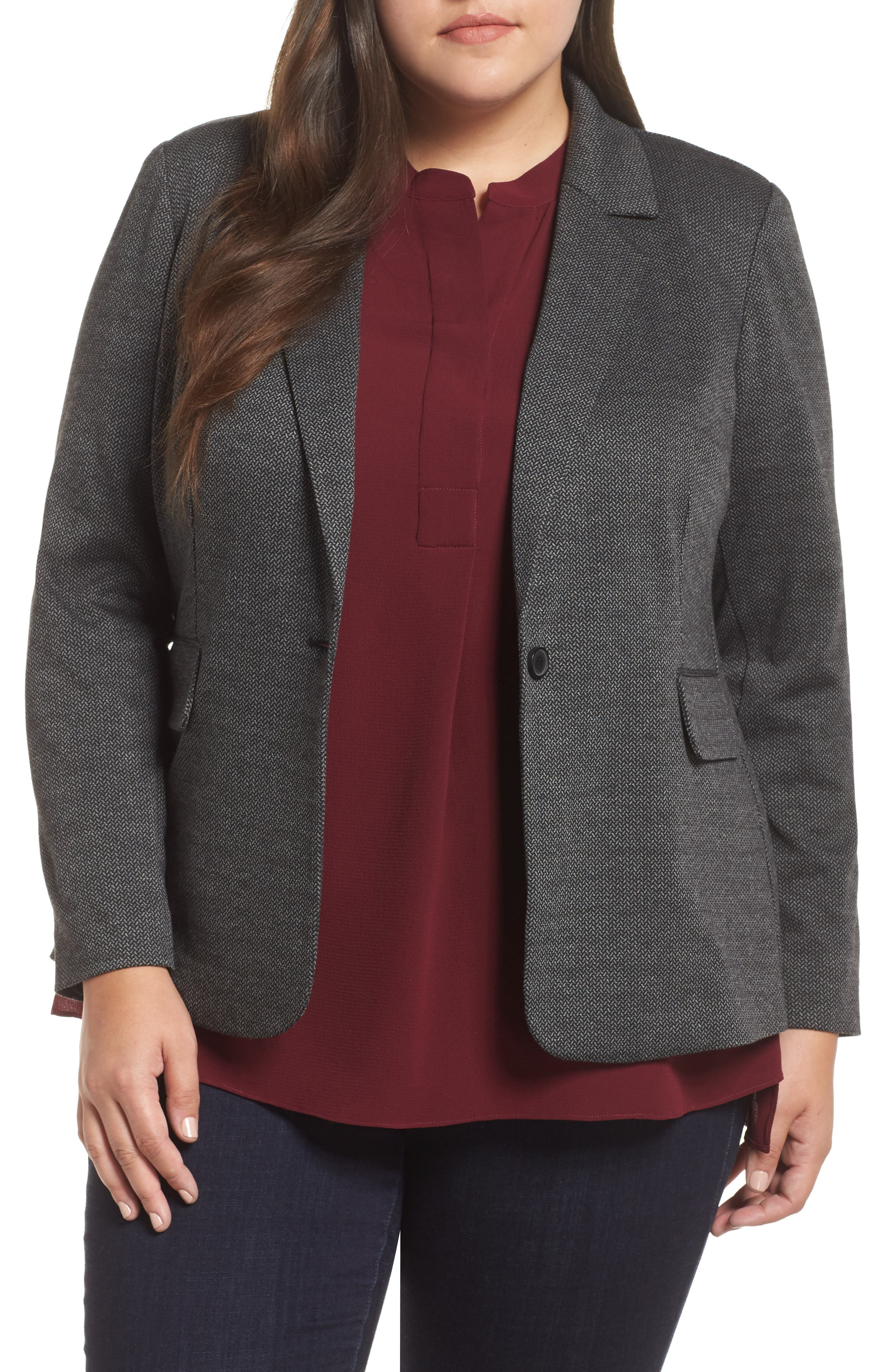 VINCE CAMUTO Mélange Herringbone Single Button Blazer, Main, color, RICH BLACK
