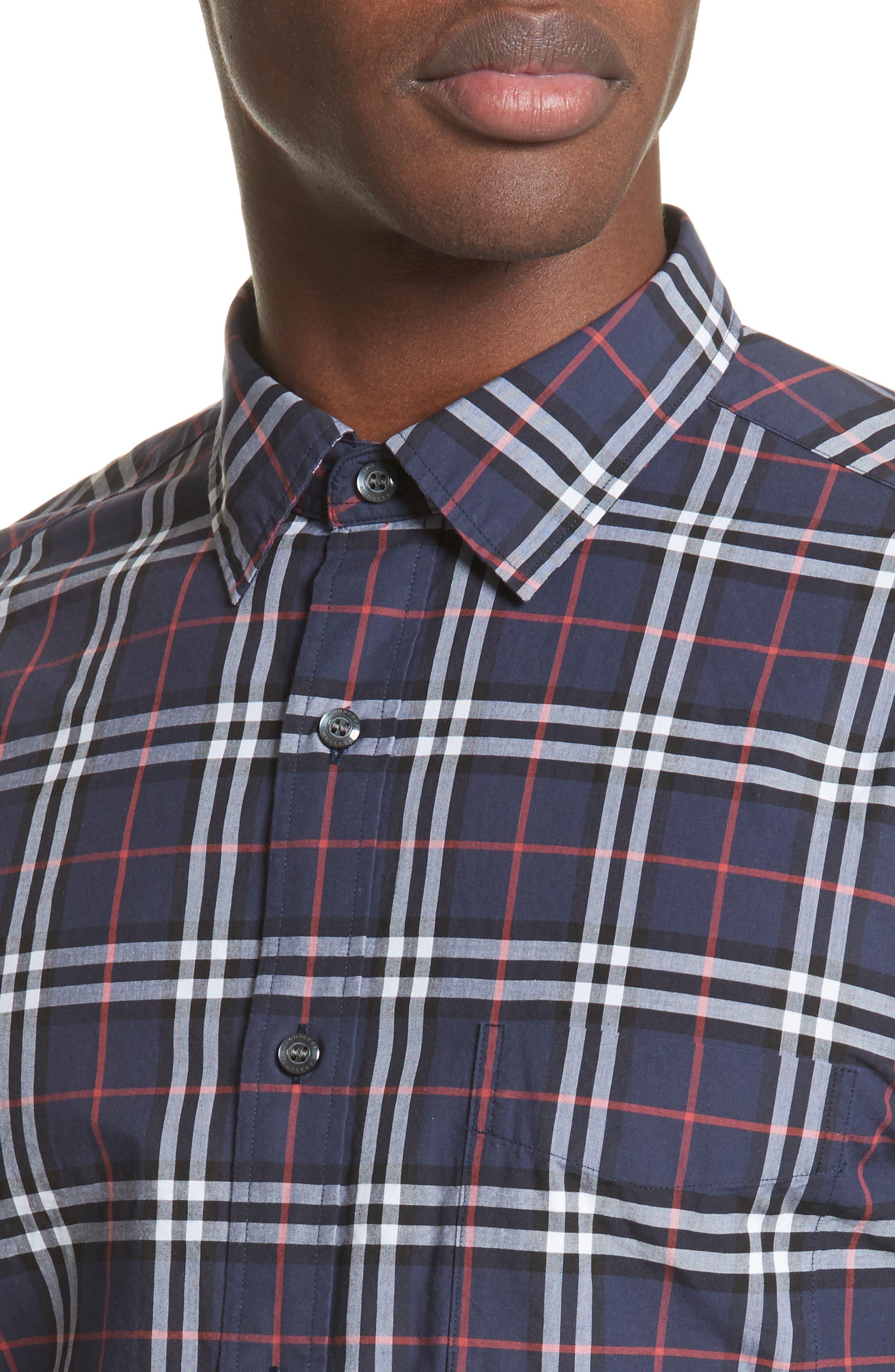Alexander Check Sport Shirt,                             Alternate thumbnail 4, color,                             NAVY