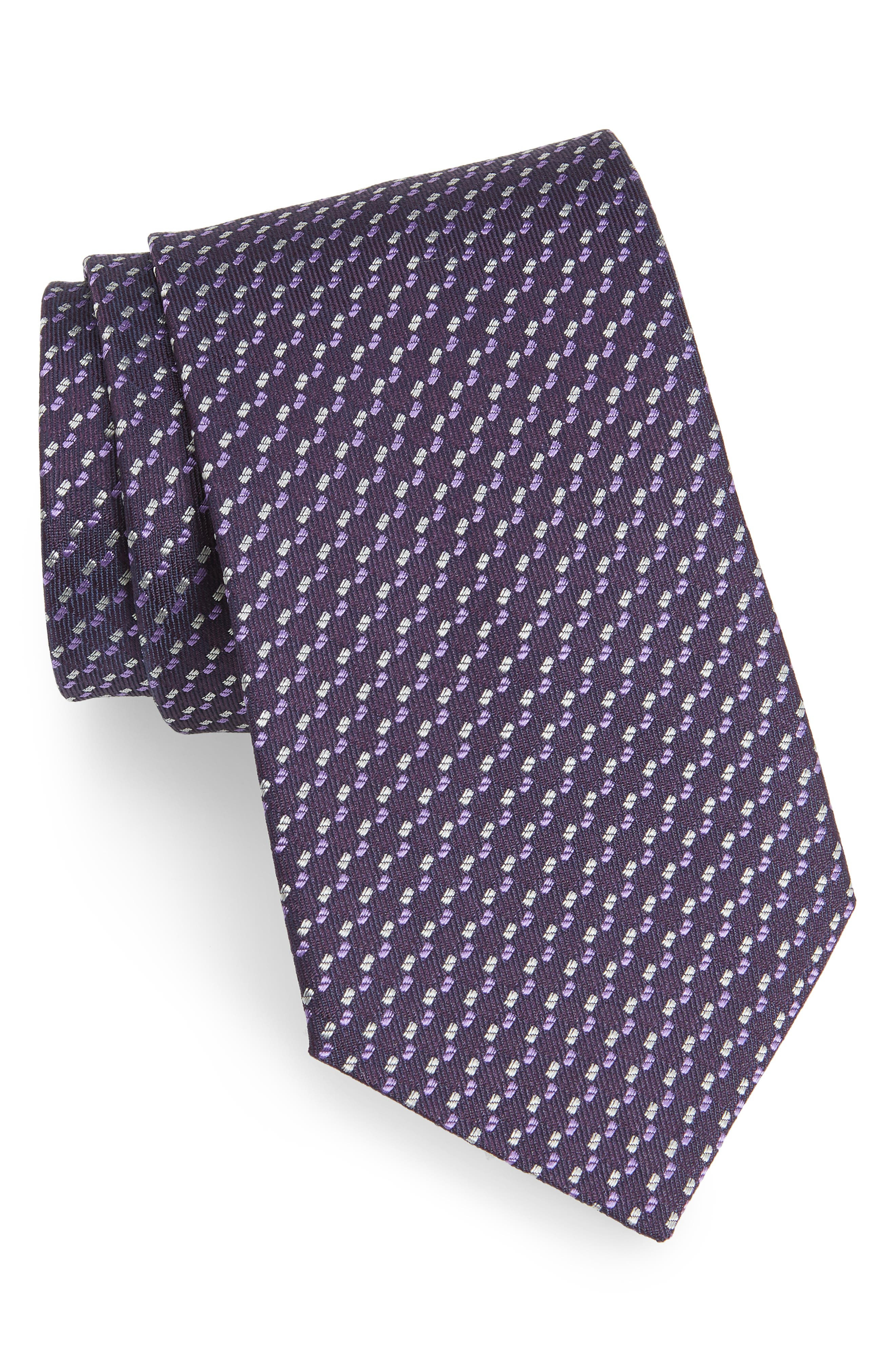 Dot Silk Tie,                         Main,                         color, PURPLE