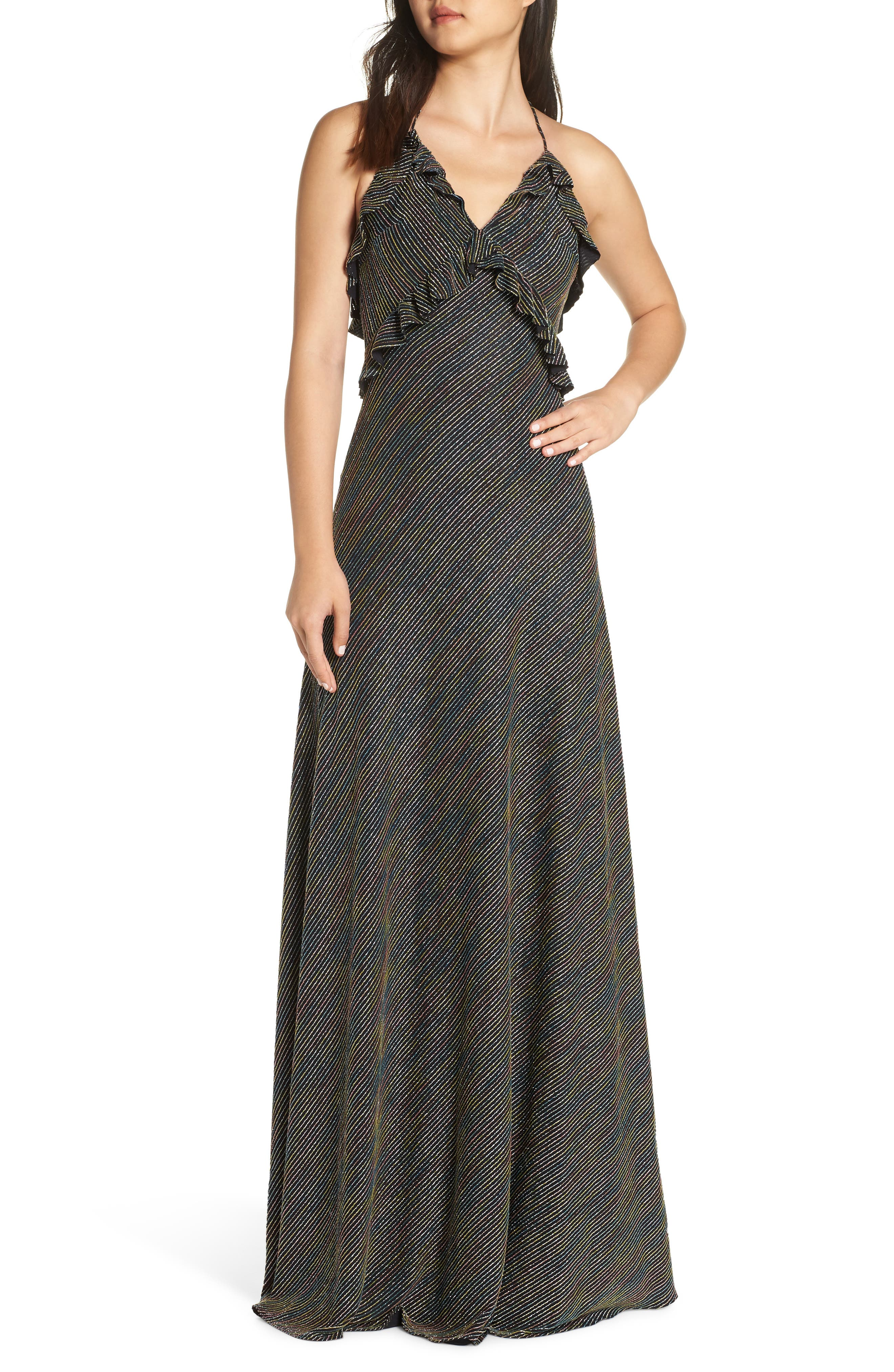 JILL JILL STUART Marjan Metallic Knit Gown, Main, color, SILVER MULTI