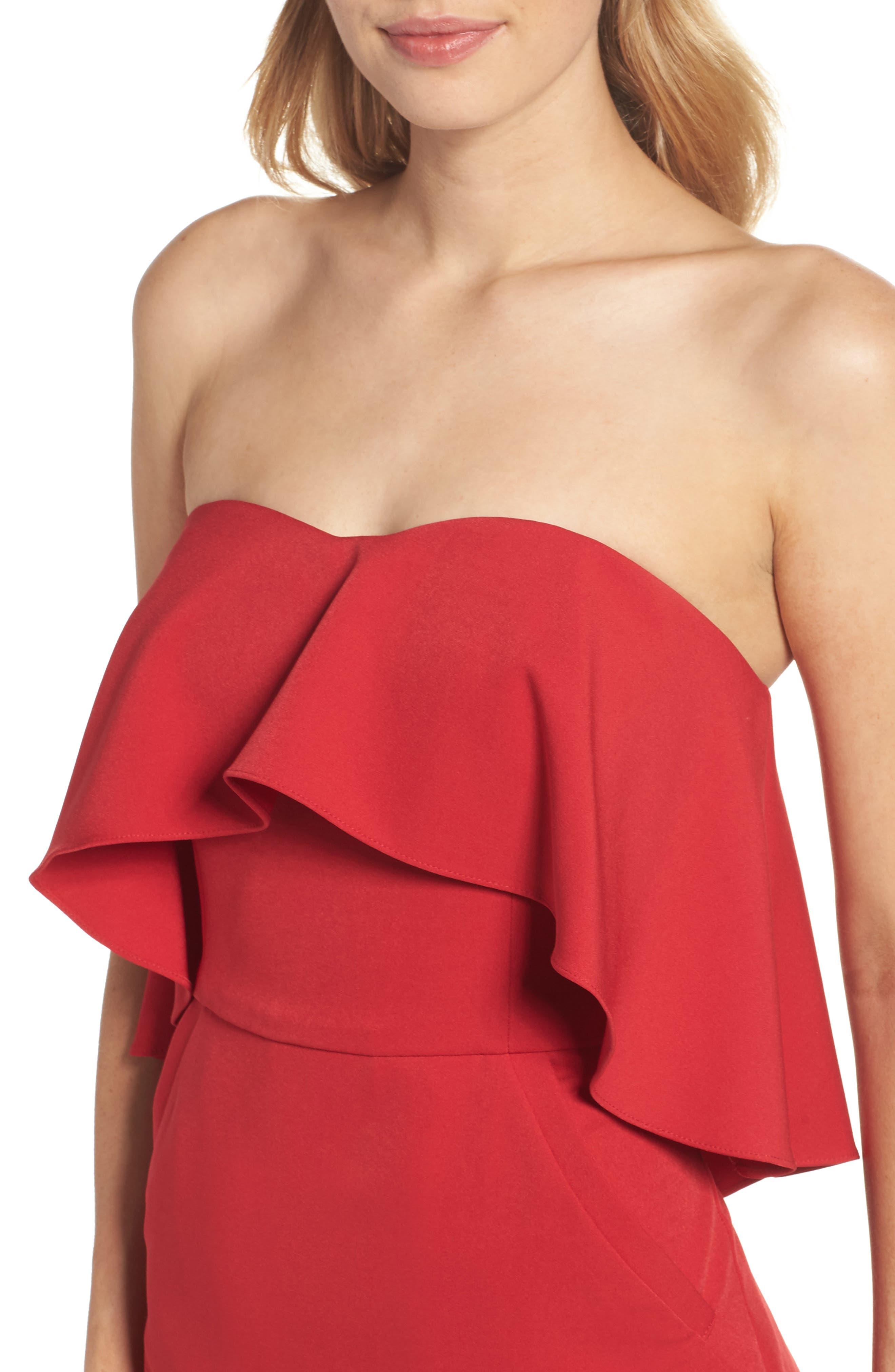 Ruffle Stretch Crepe Sheath Dress,                             Alternate thumbnail 22, color,