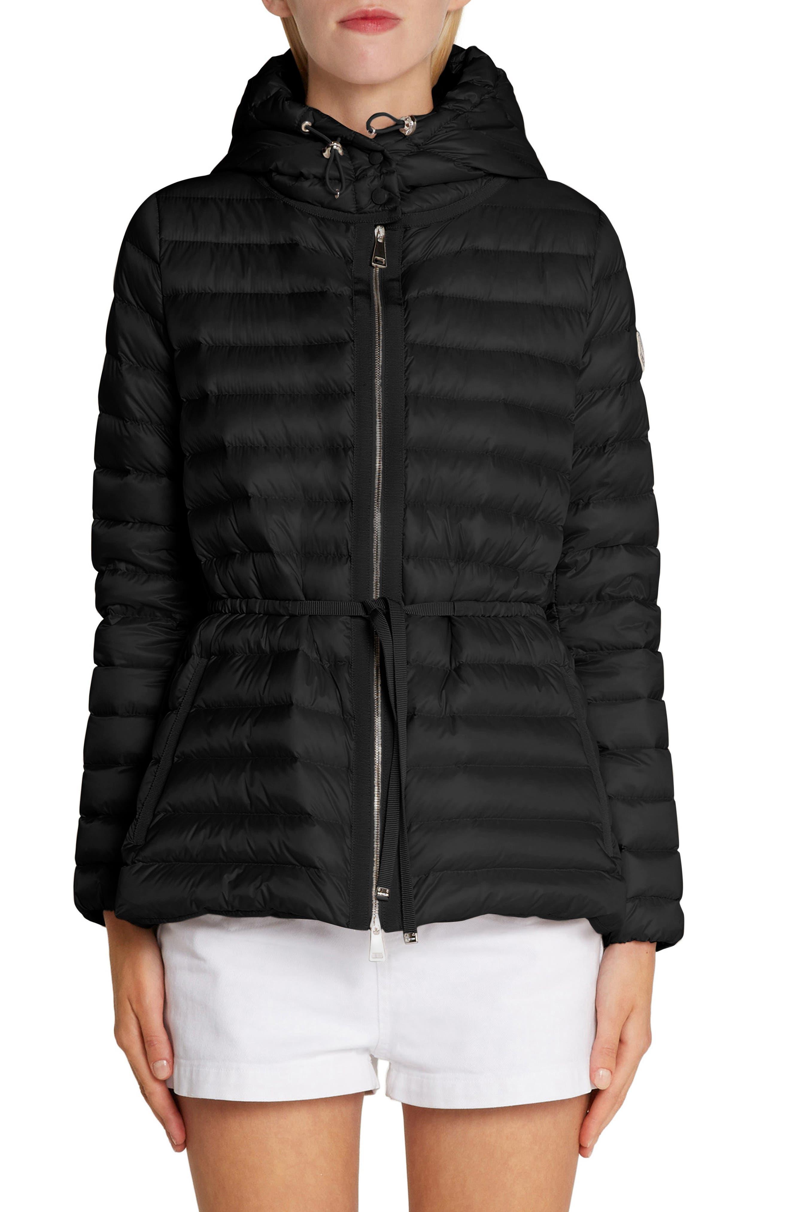 Raie Tie Waist Hooded Down Coat, Main, color, BLACK