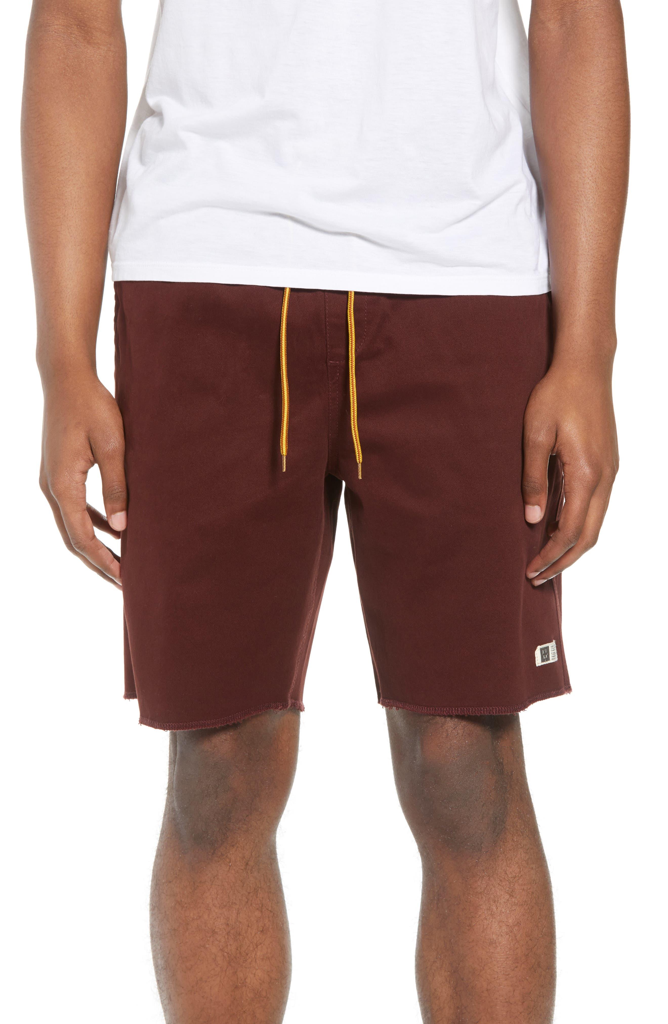 Weekday Shorts,                             Main thumbnail 1, color,                             BURGUNDY