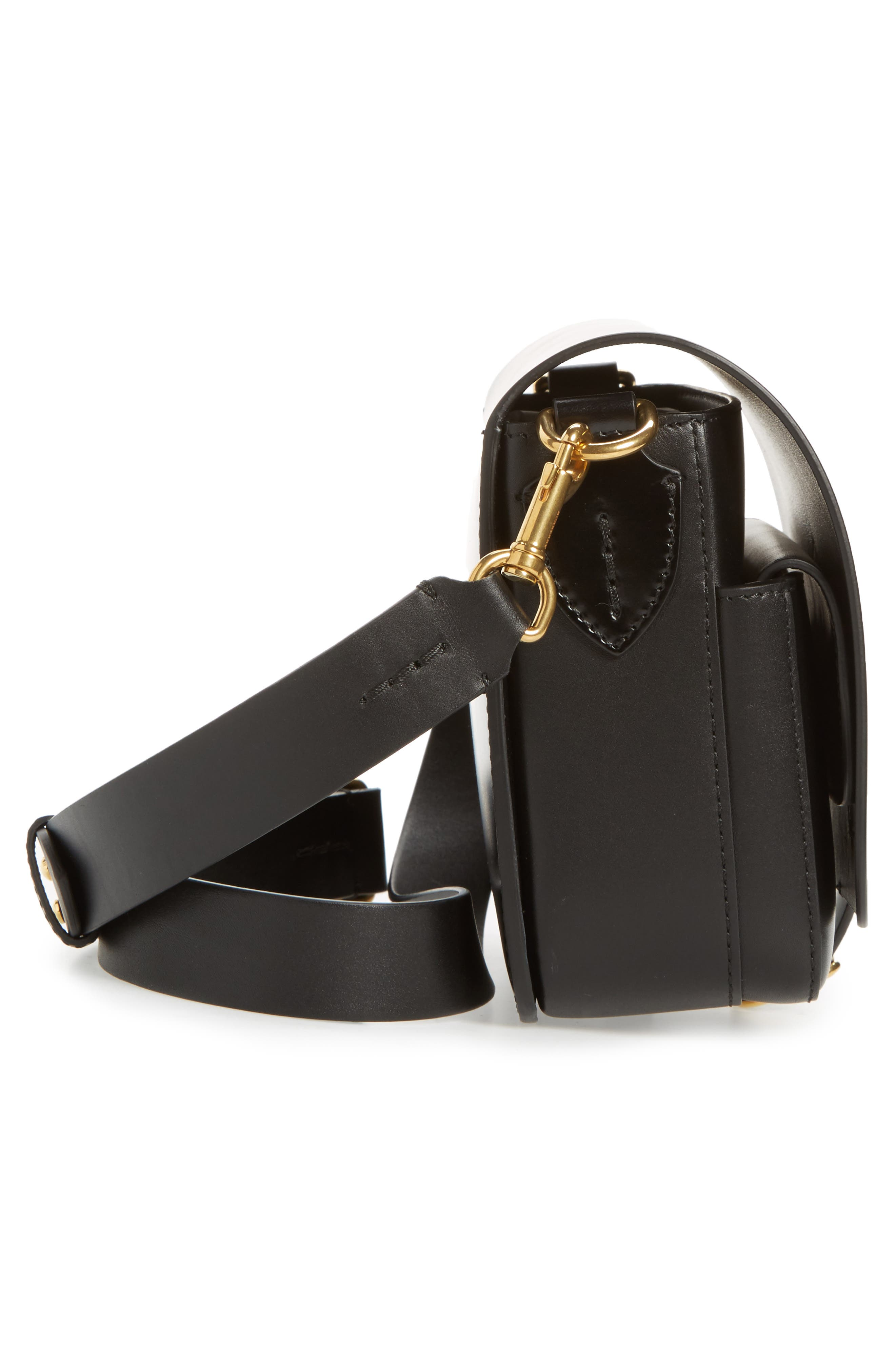 Leather Shoulder Bag,                             Alternate thumbnail 6, color,                             BLACK