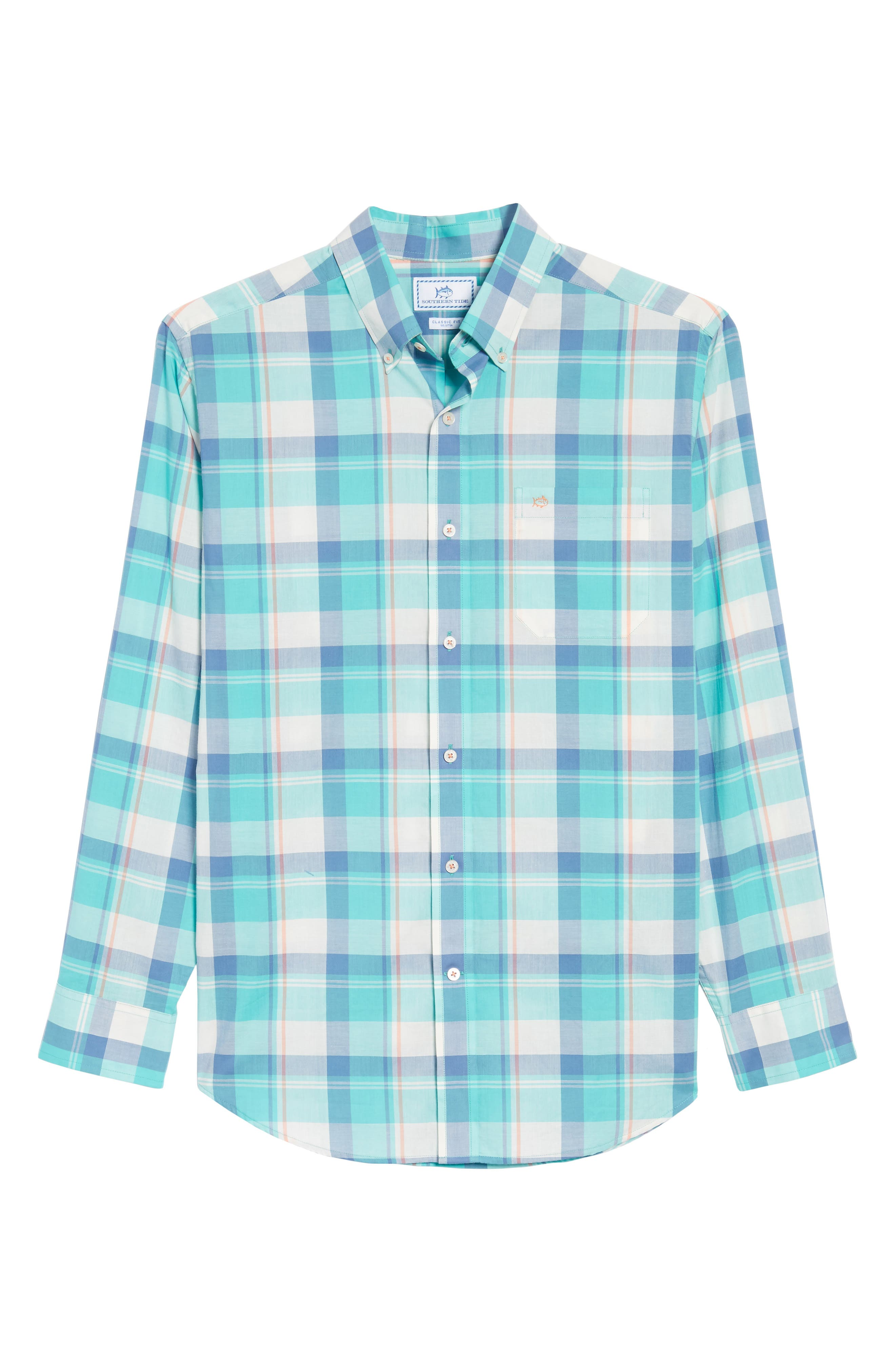 Green Cay Plaid Sport Shirt,                             Alternate thumbnail 6, color,