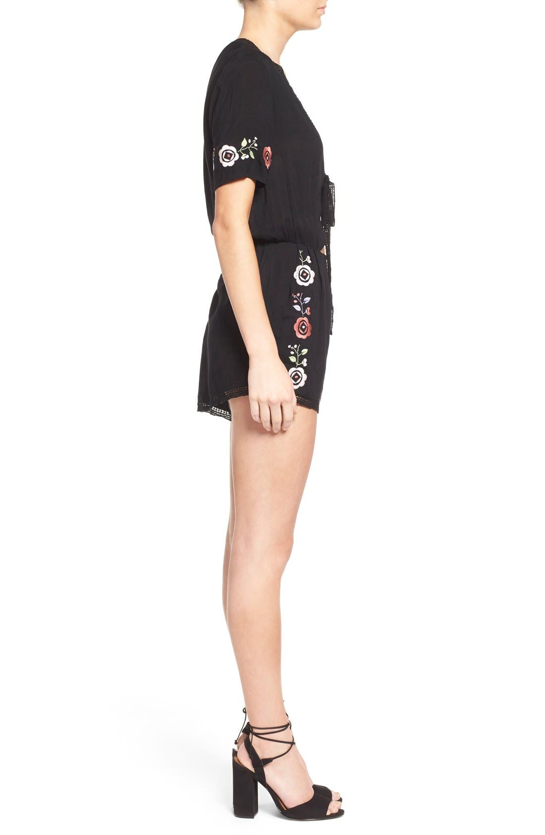 'Wide Eyes' Embroidered Romper,                             Alternate thumbnail 5, color,                             001