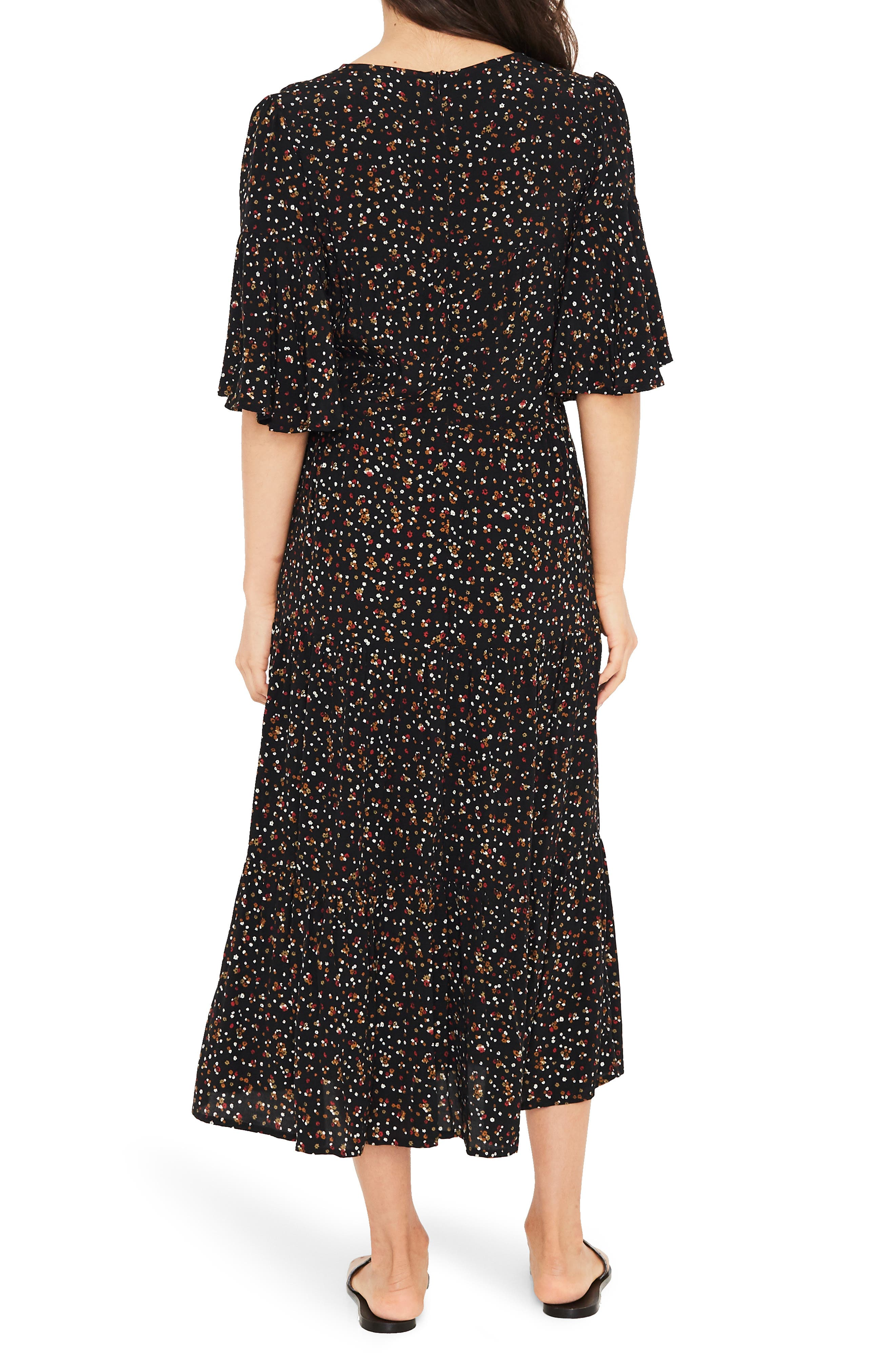 Melia Ditsy Floral Print Midi Dress,                             Alternate thumbnail 2, color,                             001