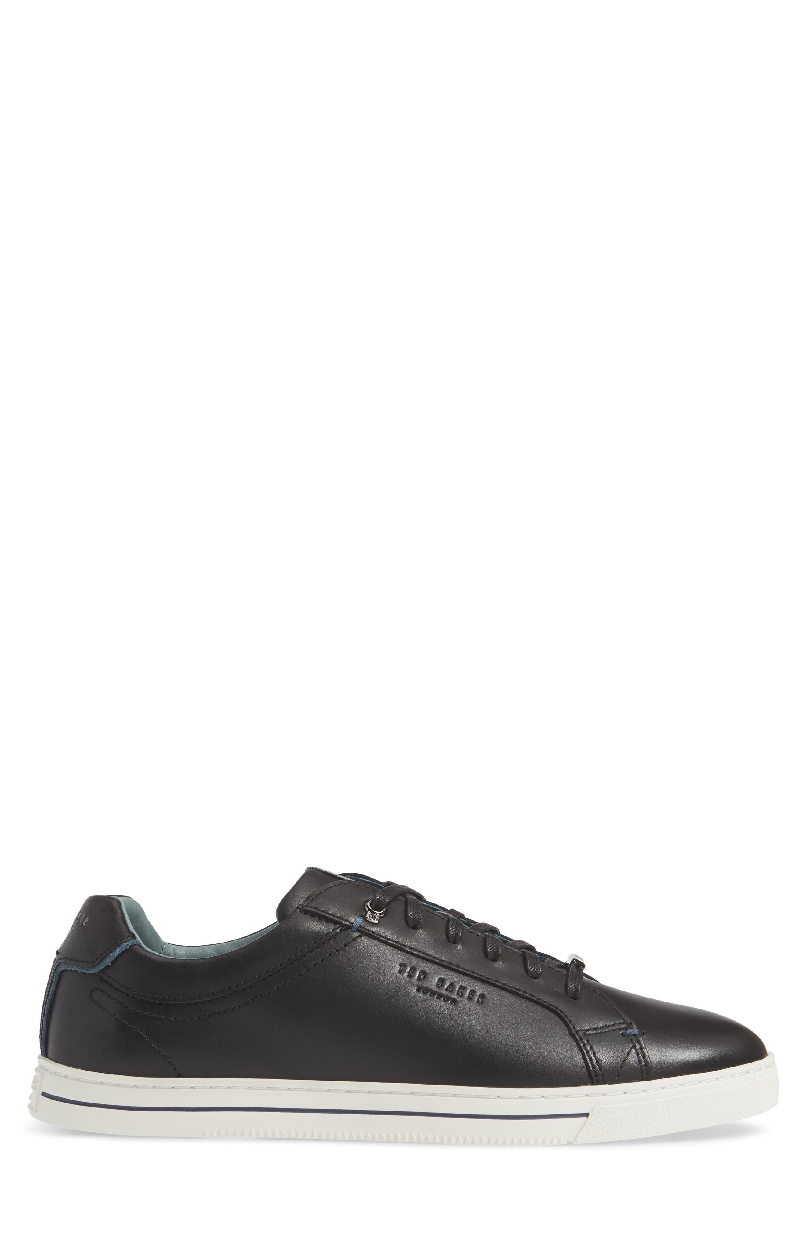 TED BAKER LONDON,                             Thawne Sneaker,                             Alternate thumbnail 3, color,                             BLACK LEATHER