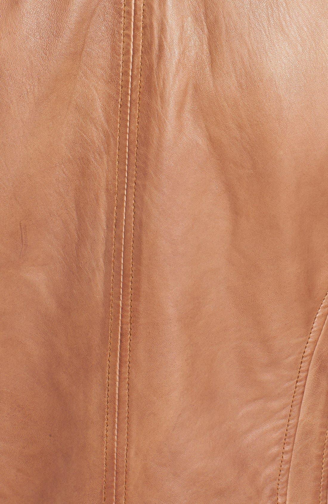 Zip Front Leather Biker Jacket,                             Alternate thumbnail 15, color,