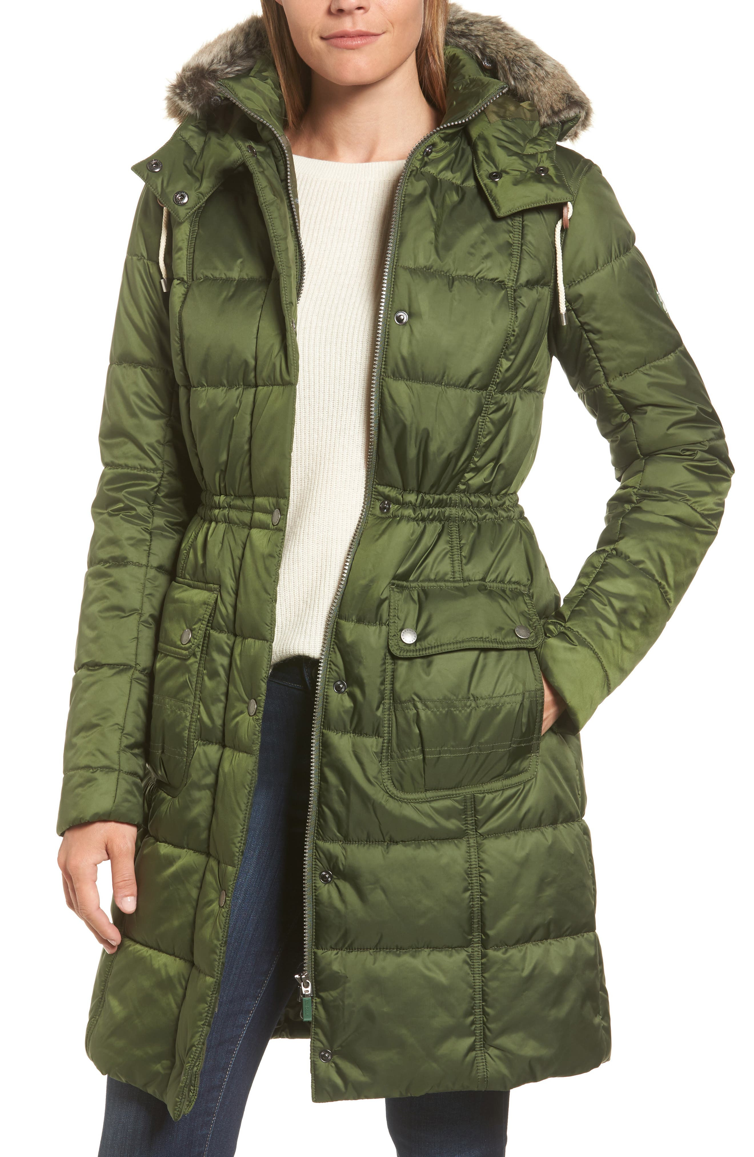 Winterton Water Resistant Hooded Quilted Jacket with Faux Fur Trim,                         Main,                         color,