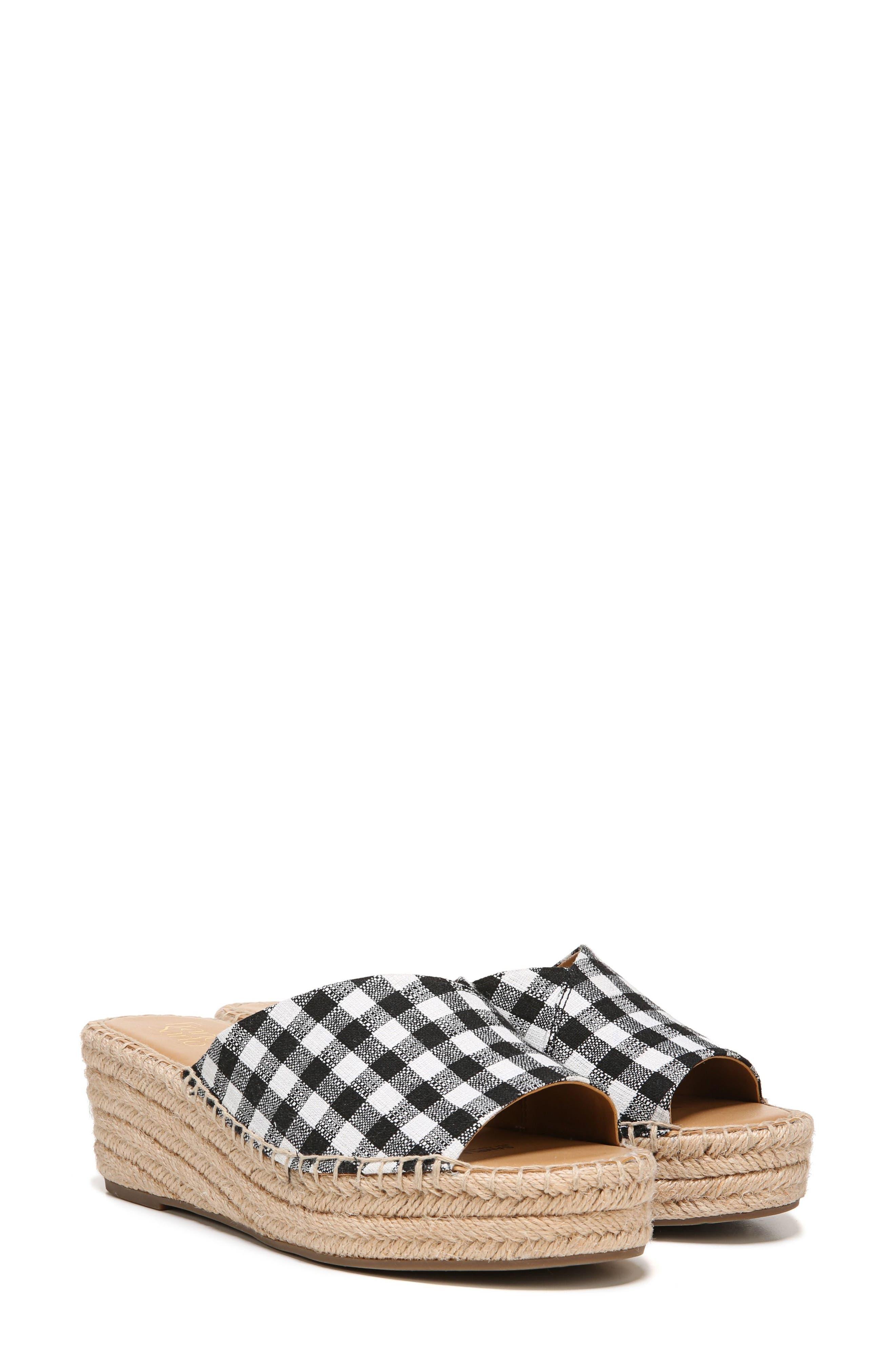 SARTO by Franco Sarto Pinot Platform Wedge Slide Sandal,                             Main thumbnail 1, color,                             BLACK/ WHITE