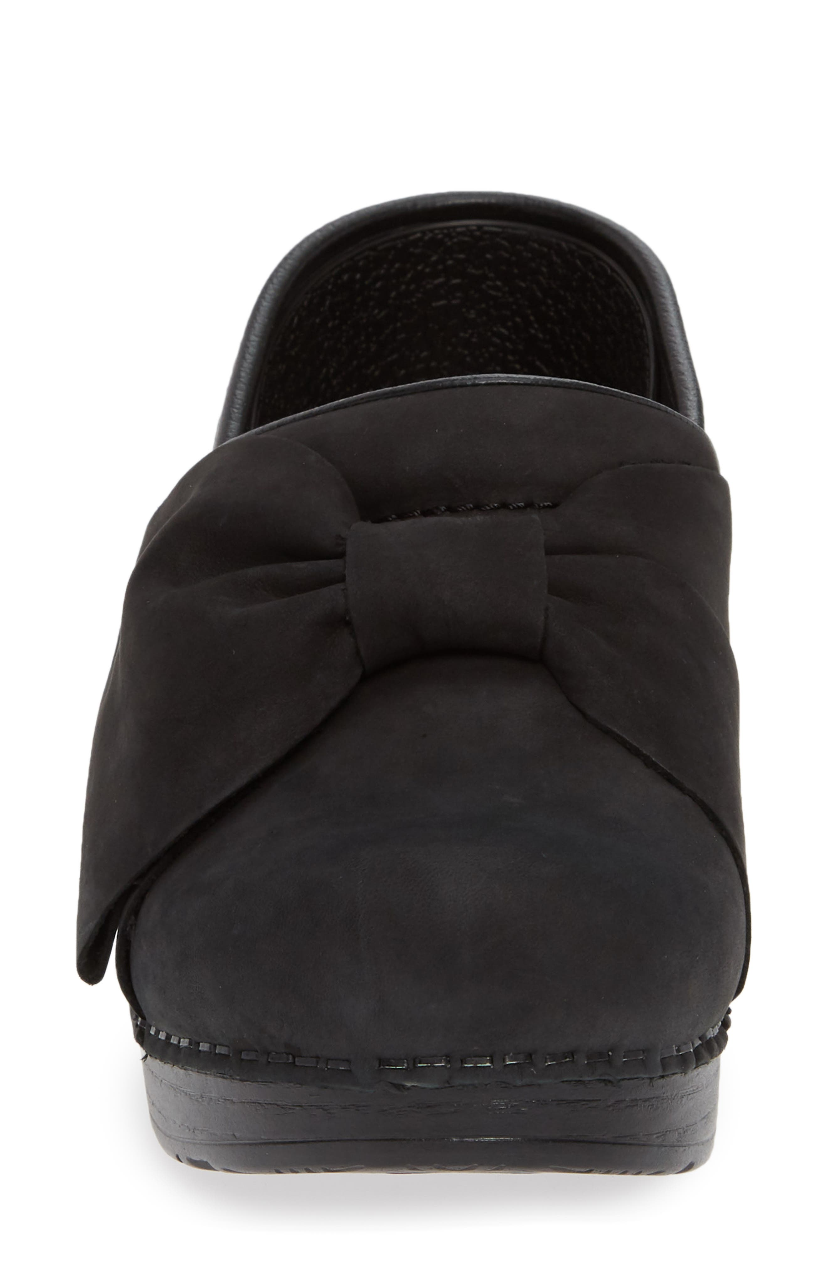 Pro Bow Clog,                             Alternate thumbnail 4, color,                             BLACK MILLED NUBUCK LEATHER