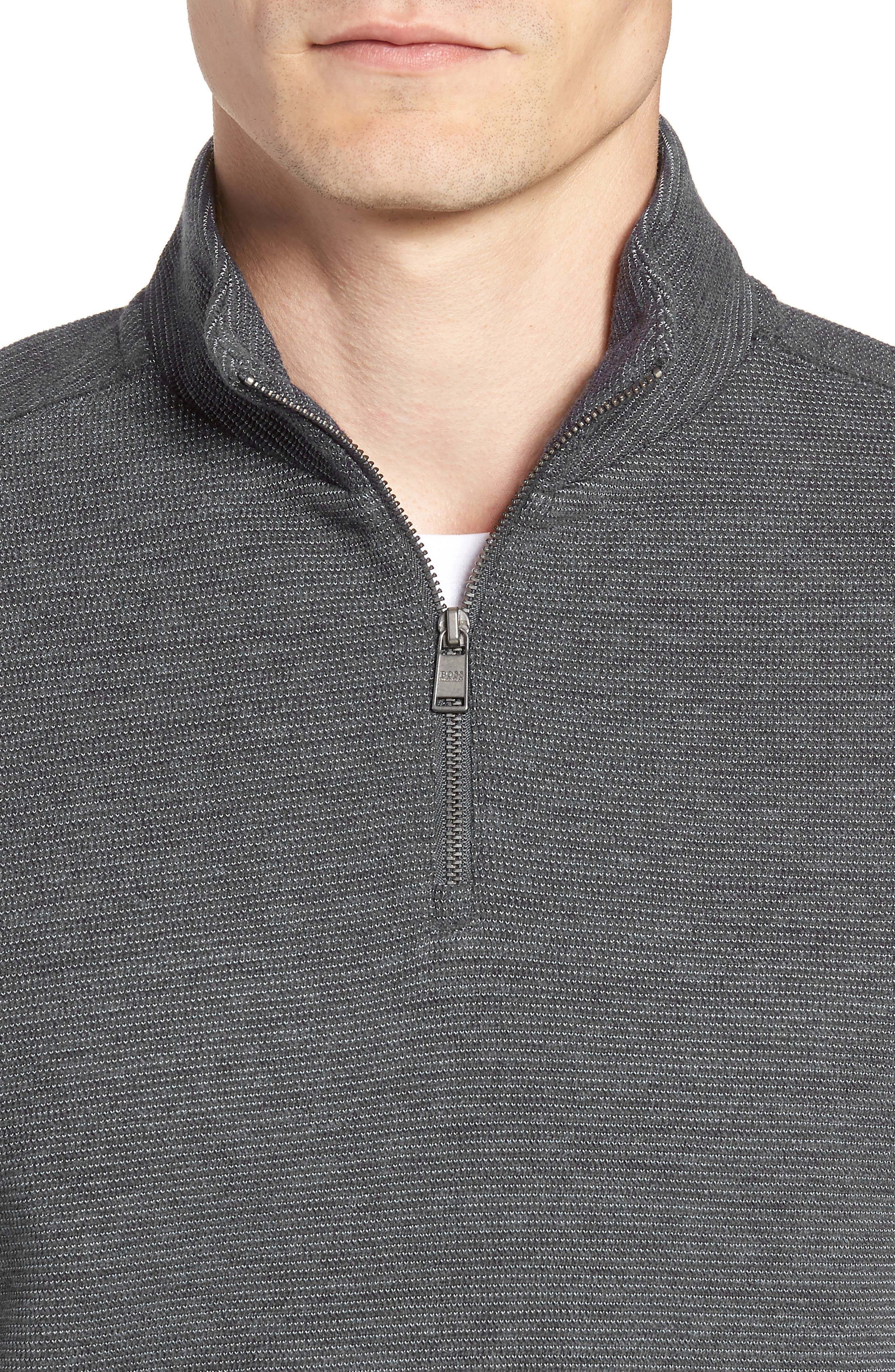 Slim Fit Quarter Zip Polo,                             Alternate thumbnail 4, color,                             CHARCOAL
