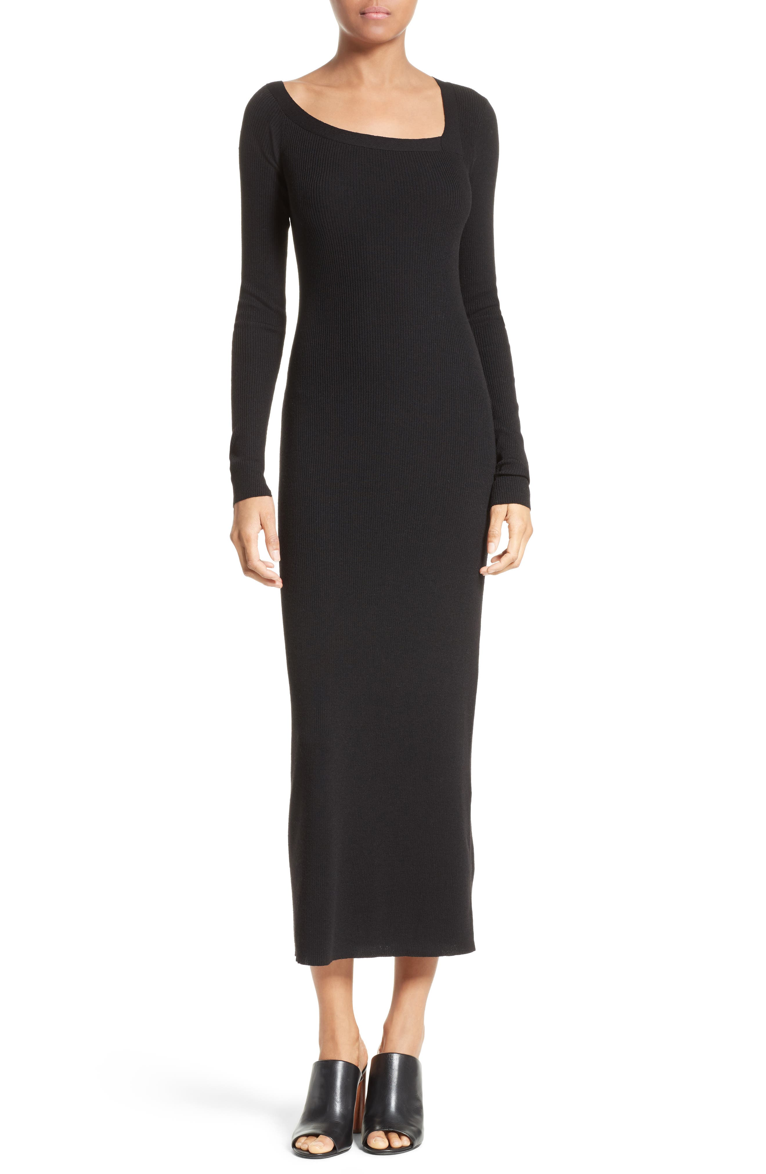 Brynn Merino Wool Blend Midi Dress,                         Main,                         color, 001