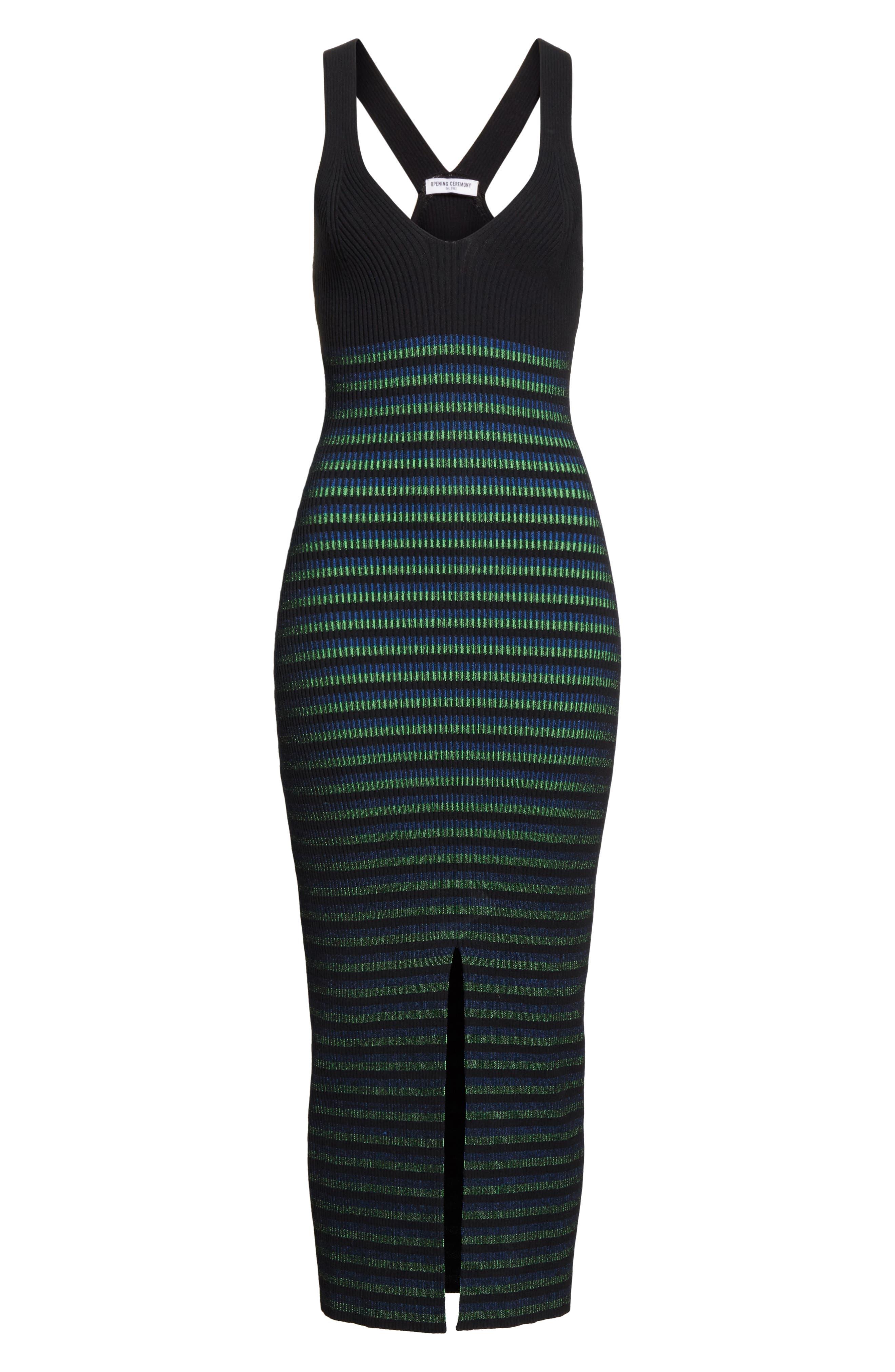 Ribbed Stripe Midi Dress,                             Alternate thumbnail 6, color,                             002