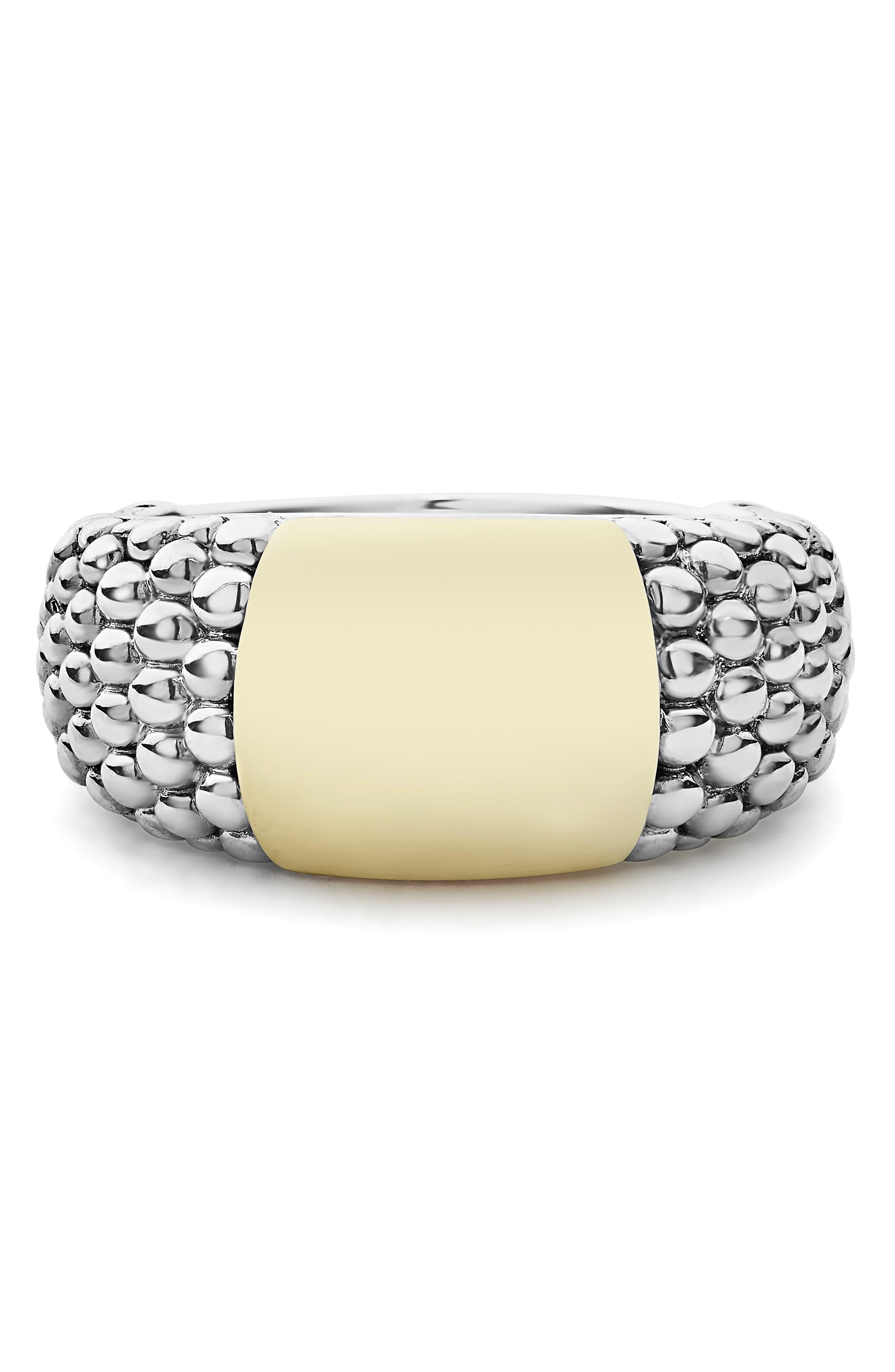 Signature Caviar High Bar Ring,                             Alternate thumbnail 5, color,                             SILVER/ GOLD