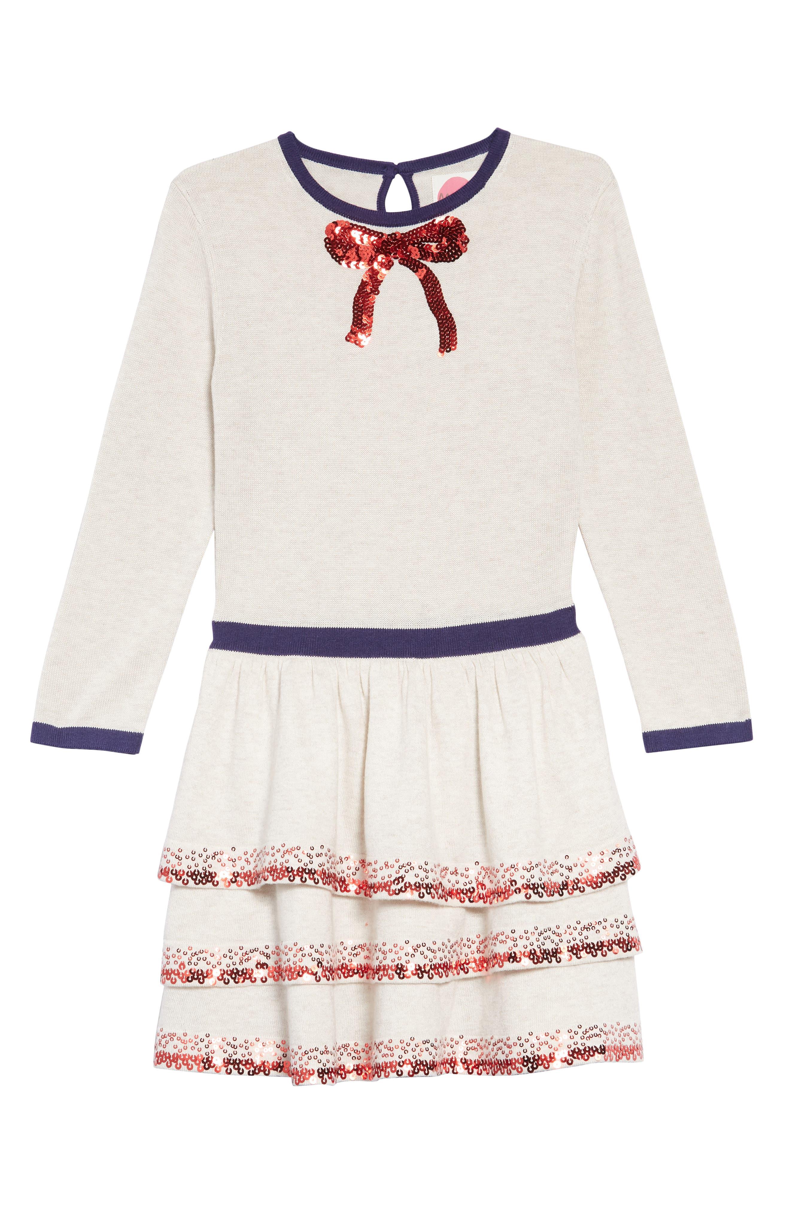 Mini Boden Party Sweater Dress,                         Main,                         color, ECR ECRU MARL