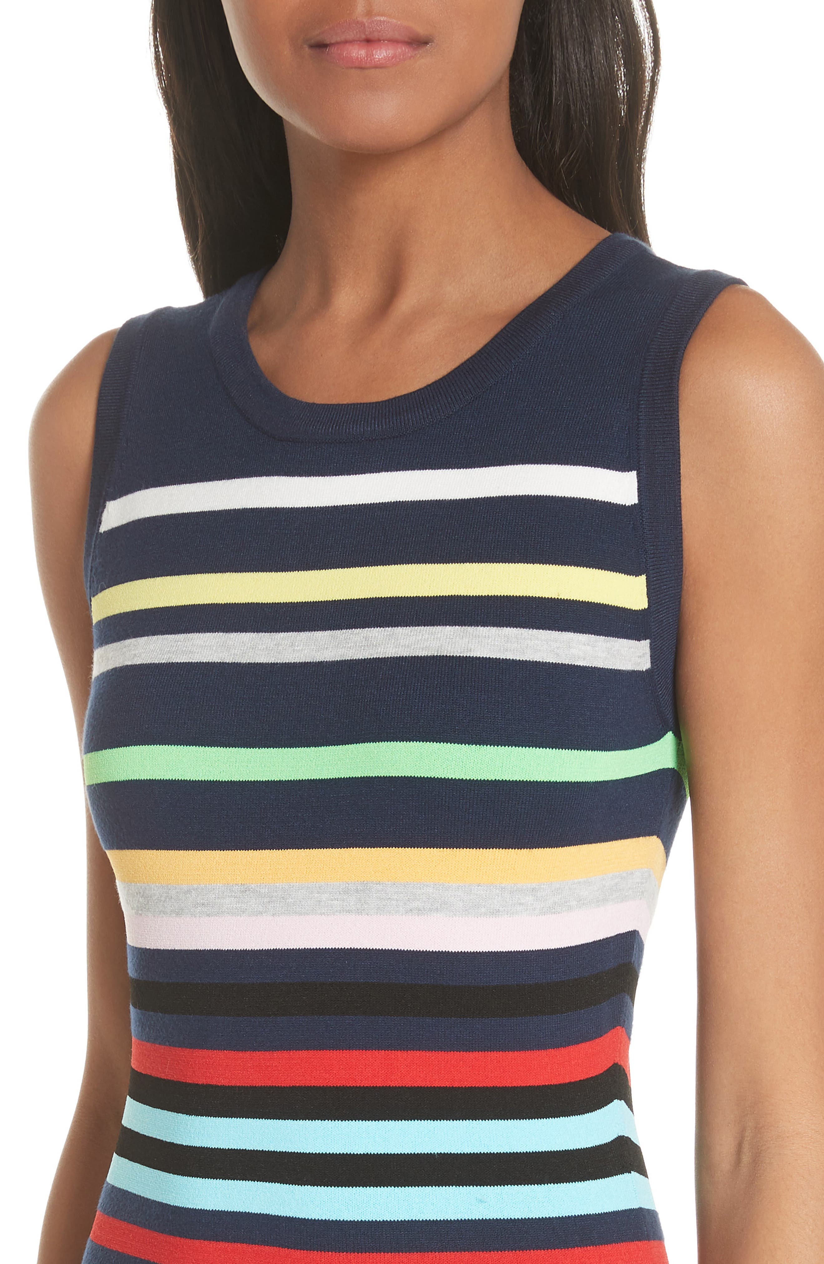 Rainbow Stripe Fit & Flare Dress,                             Alternate thumbnail 4, color,                             405