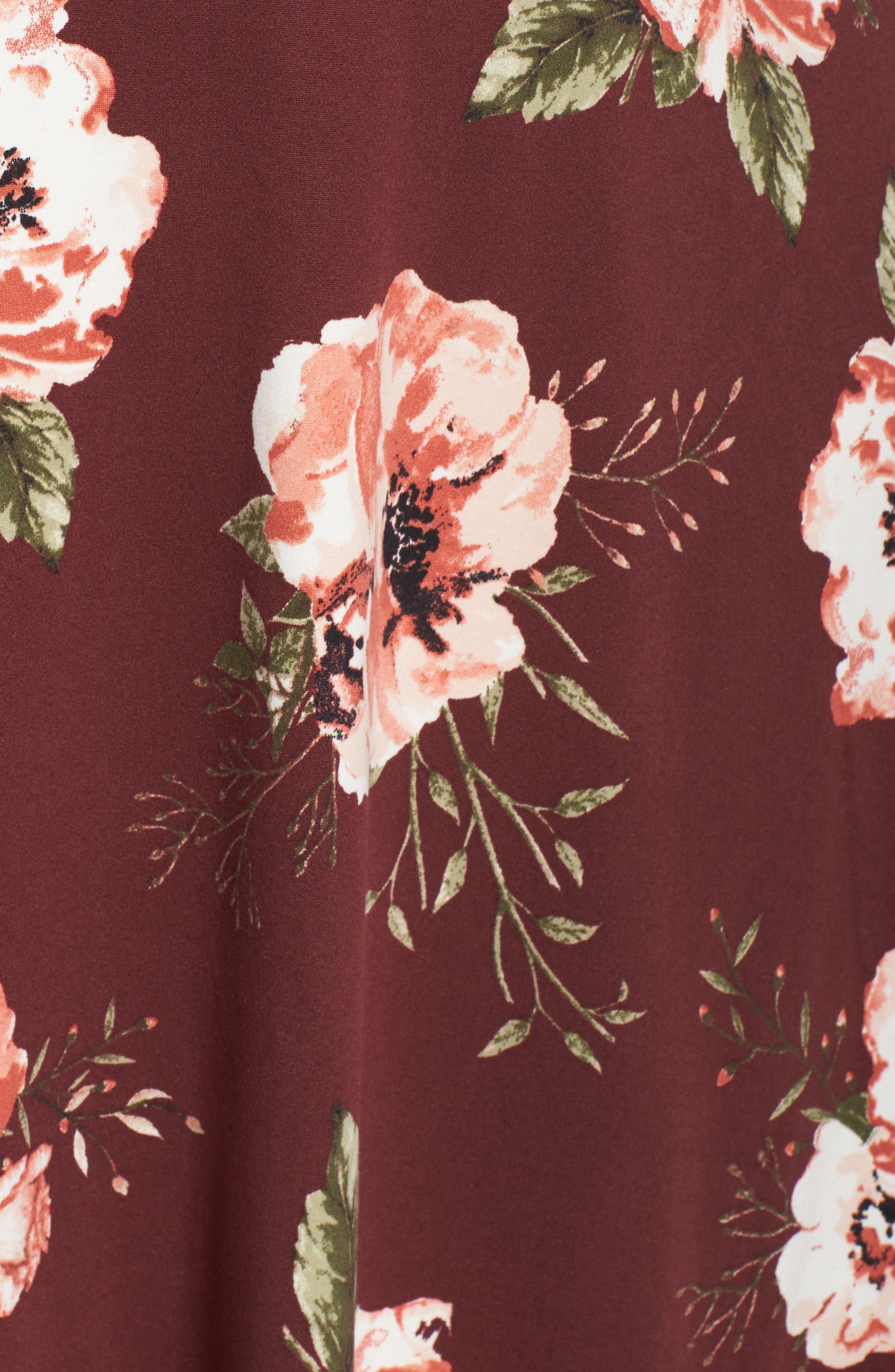 Plunging Floral Midi Dress,                             Alternate thumbnail 10, color,