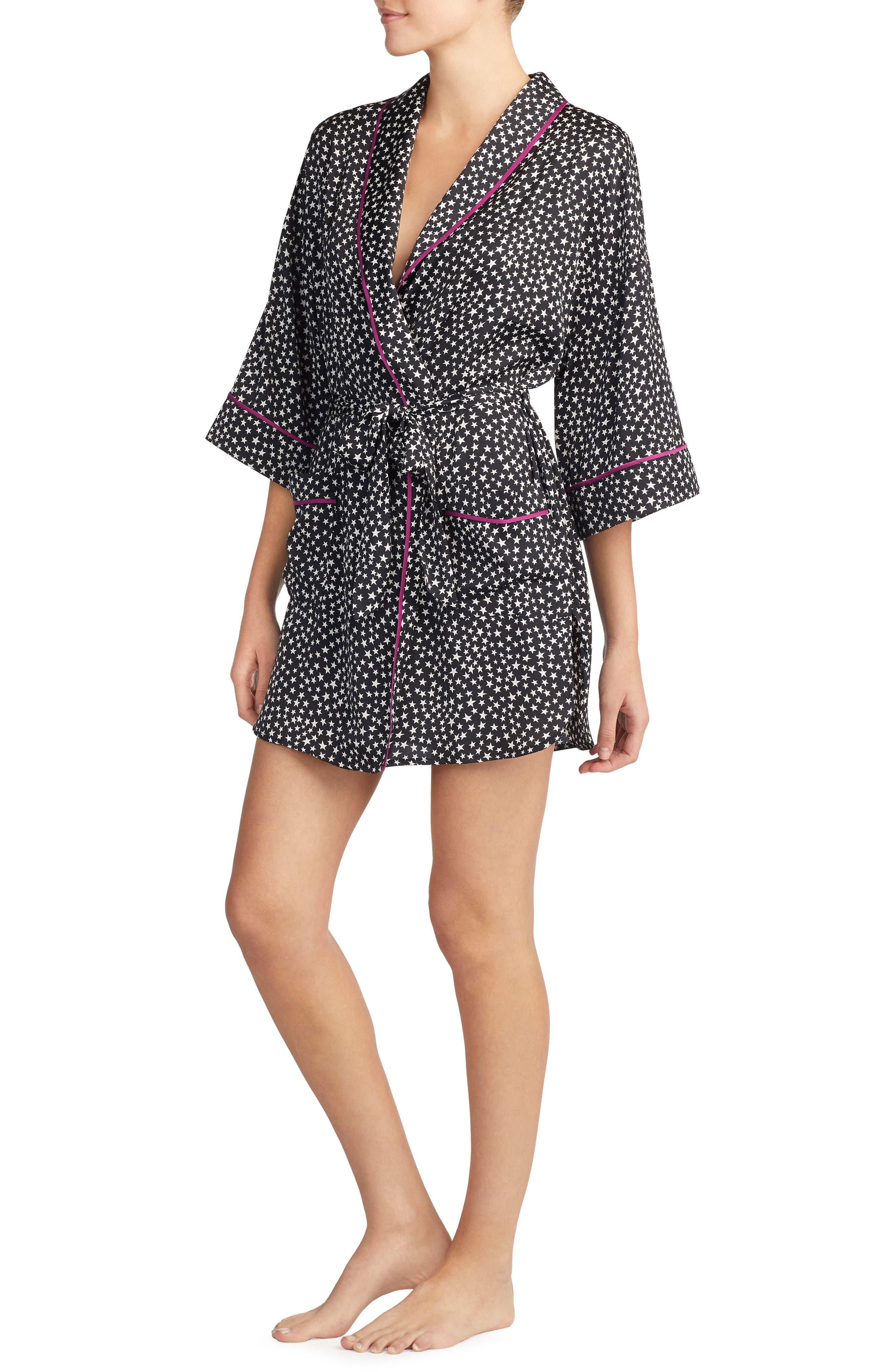 Satin Short Robe,                         Main,                         color, 002