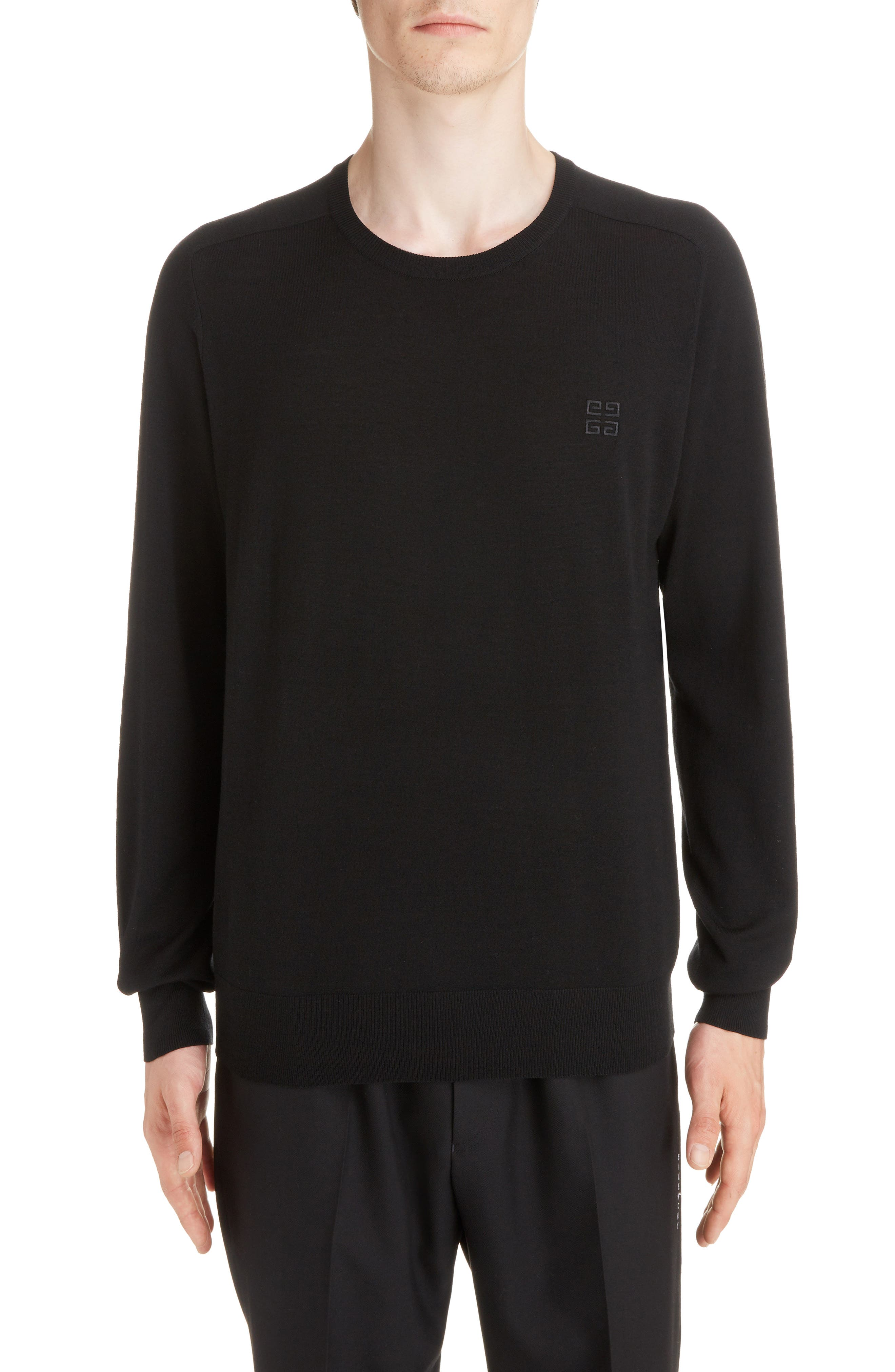 4G Wool Crewneck Sweater,                         Main,                         color, BLACK
