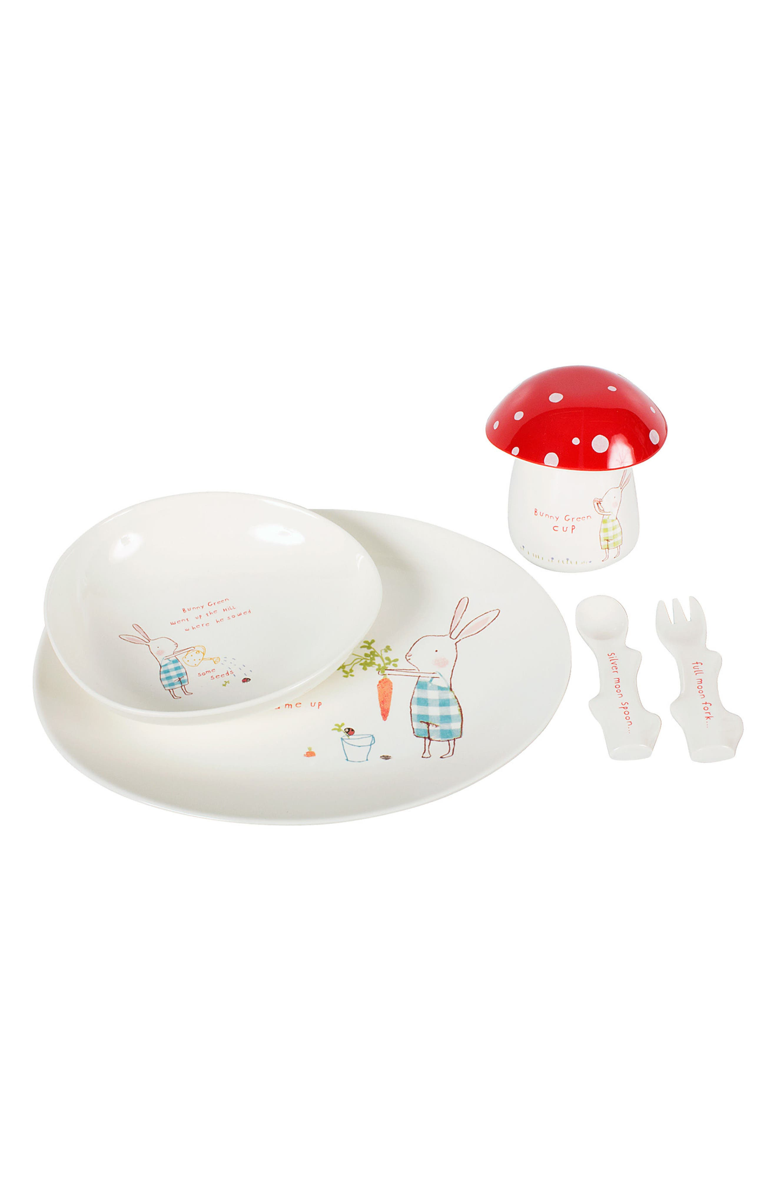 Bunny Green Print Melamine Six-Piece Dishes Set,                         Main,                         color, IVORY