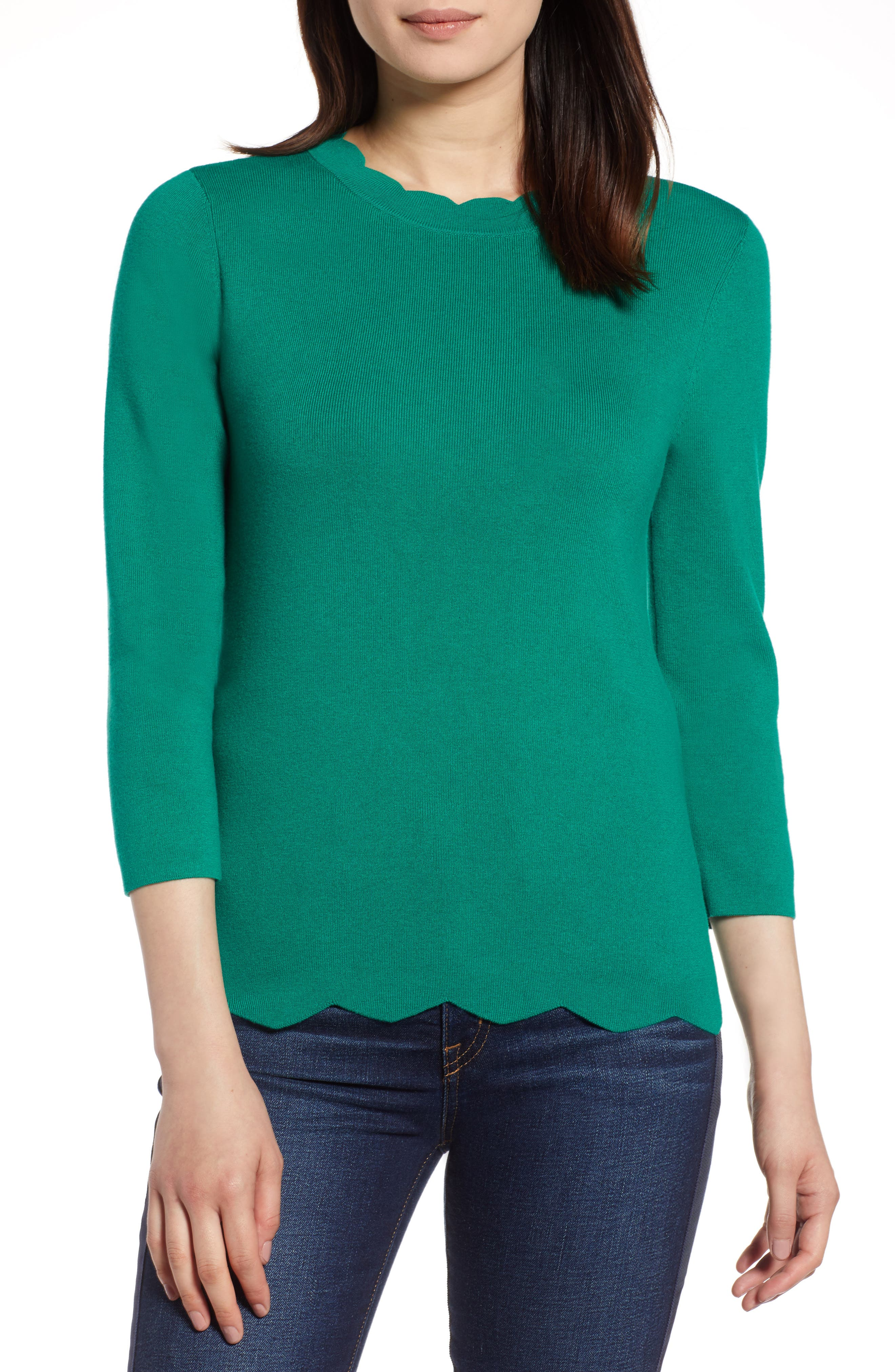 Halogen Scallop Edge Sweater,                             Main thumbnail 2, color,