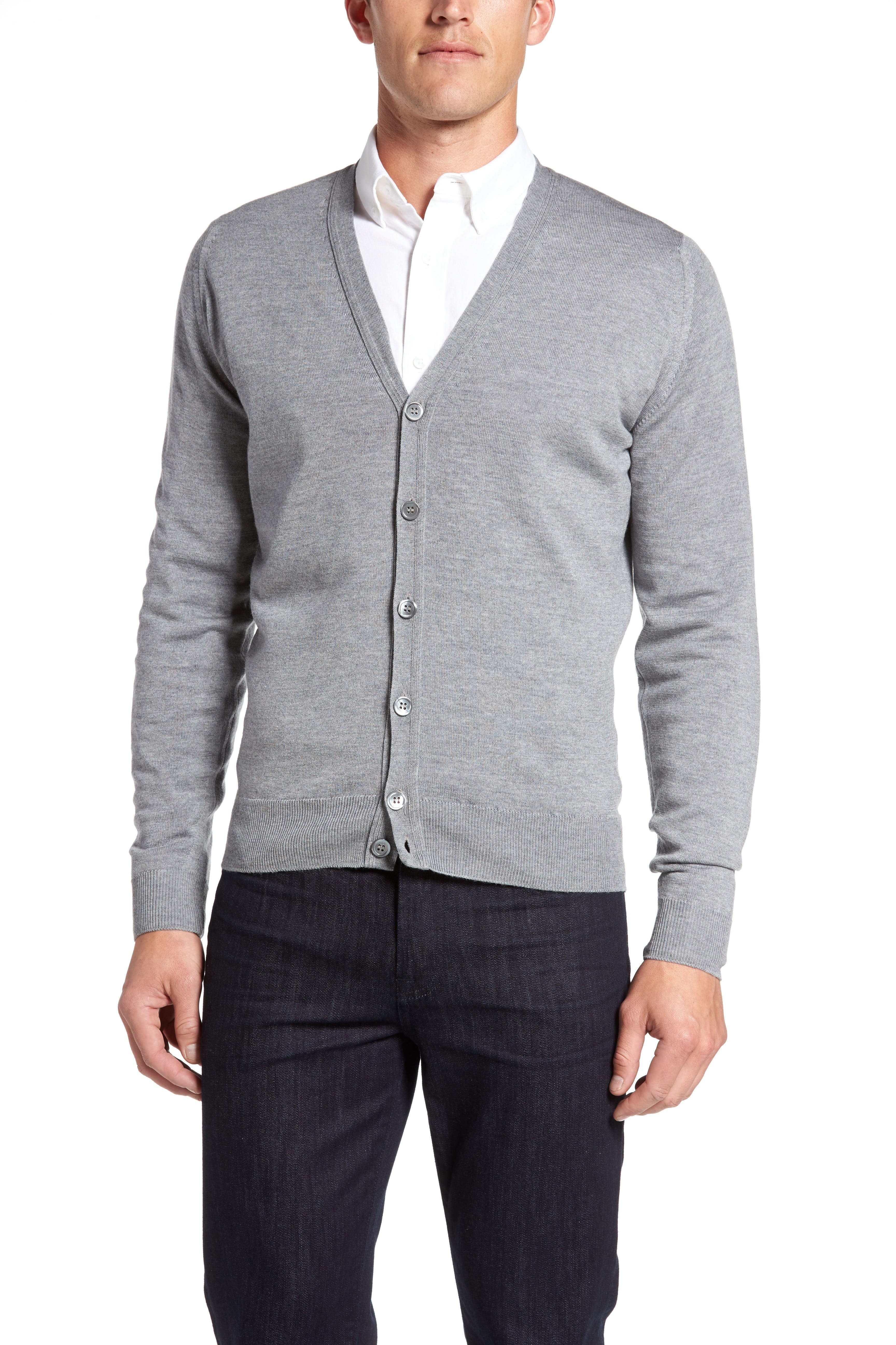 'Bryn' Easy Fit Wool Button Cardigan,                             Alternate thumbnail 5, color,                             SILVER