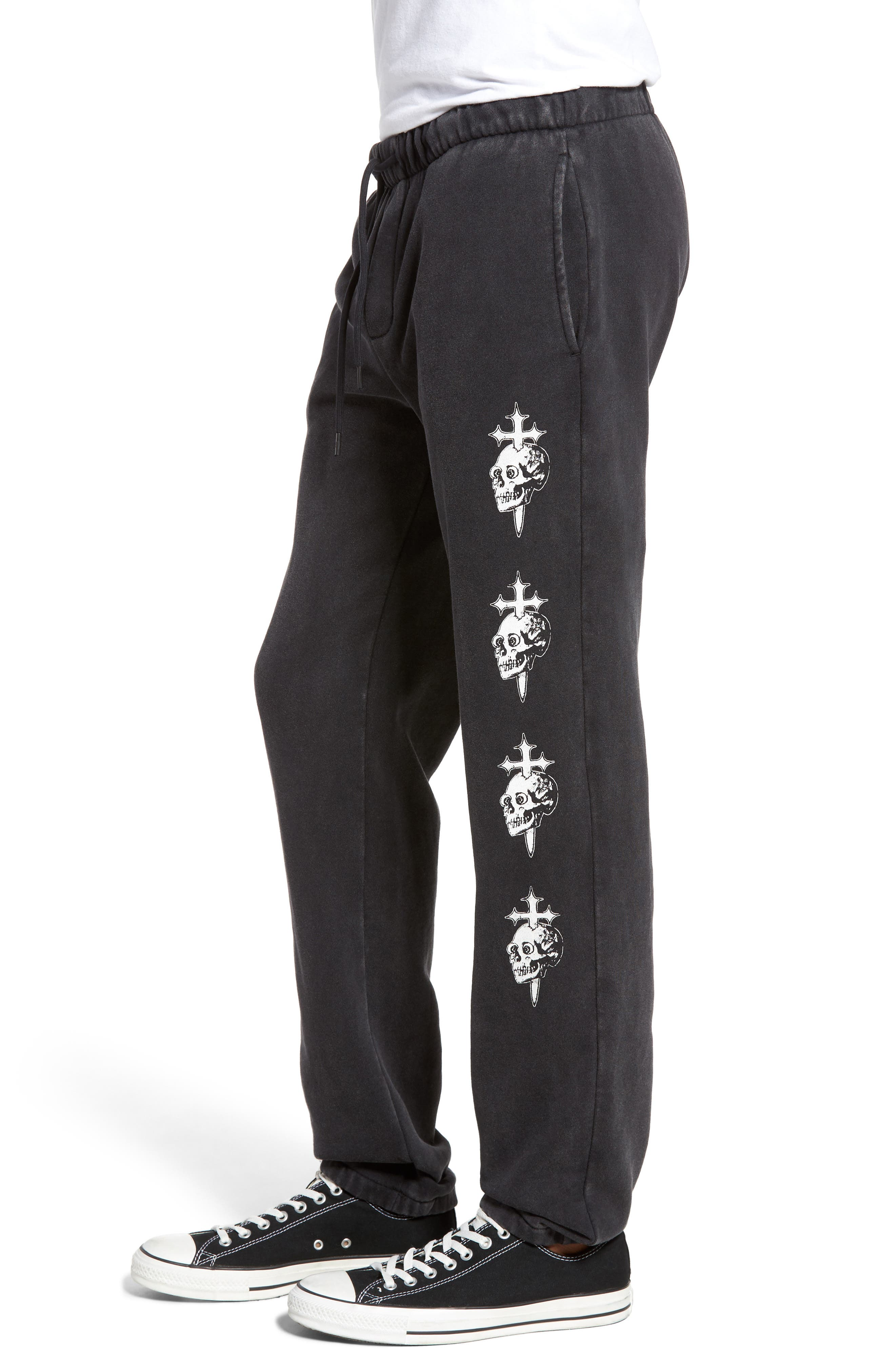 Skull Cross Print Sweatpants,                             Alternate thumbnail 3, color,                             002