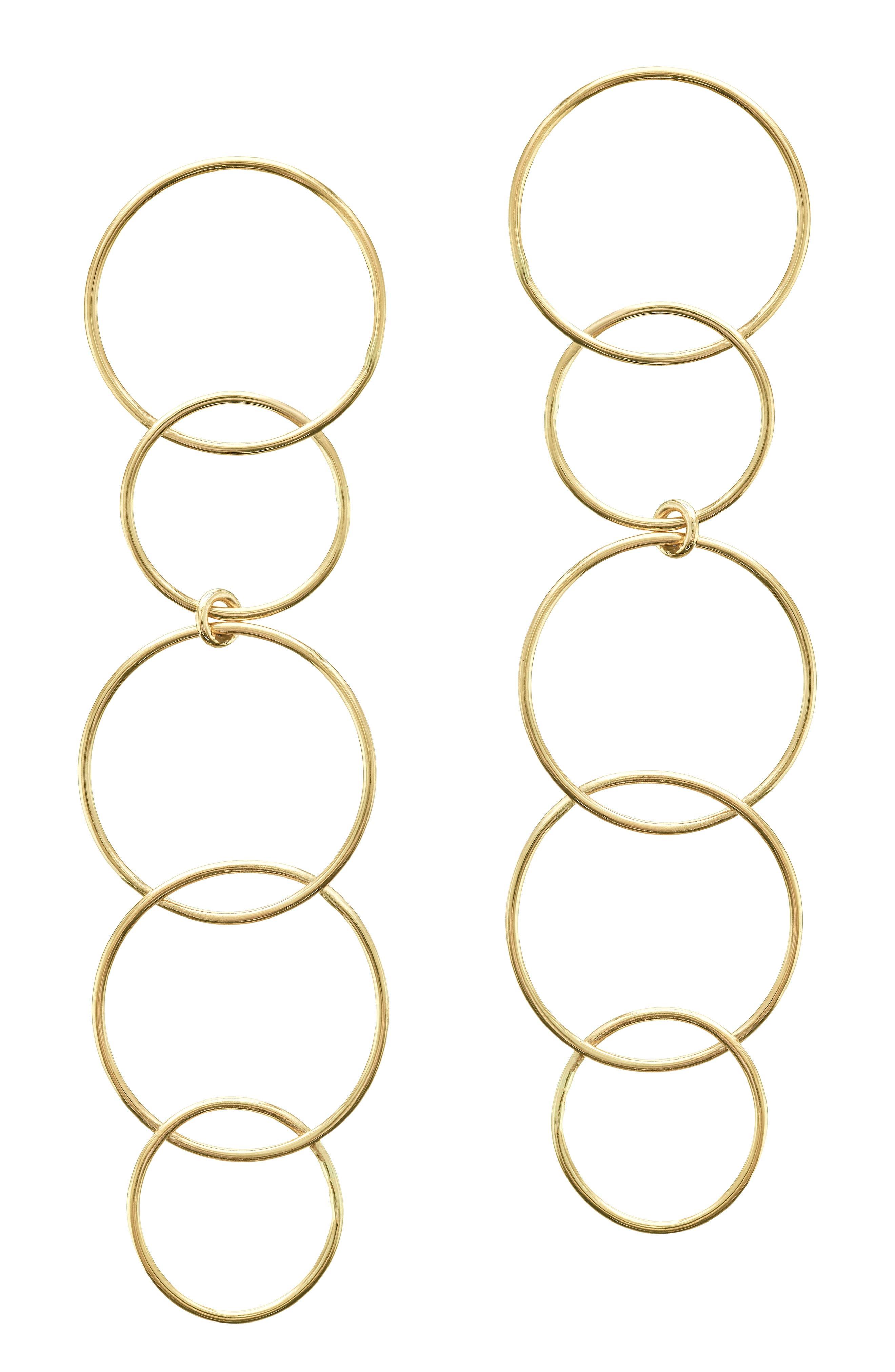 Open Disc Linear Drop Earrings,                             Main thumbnail 1, color,                             YELLOW GOLD