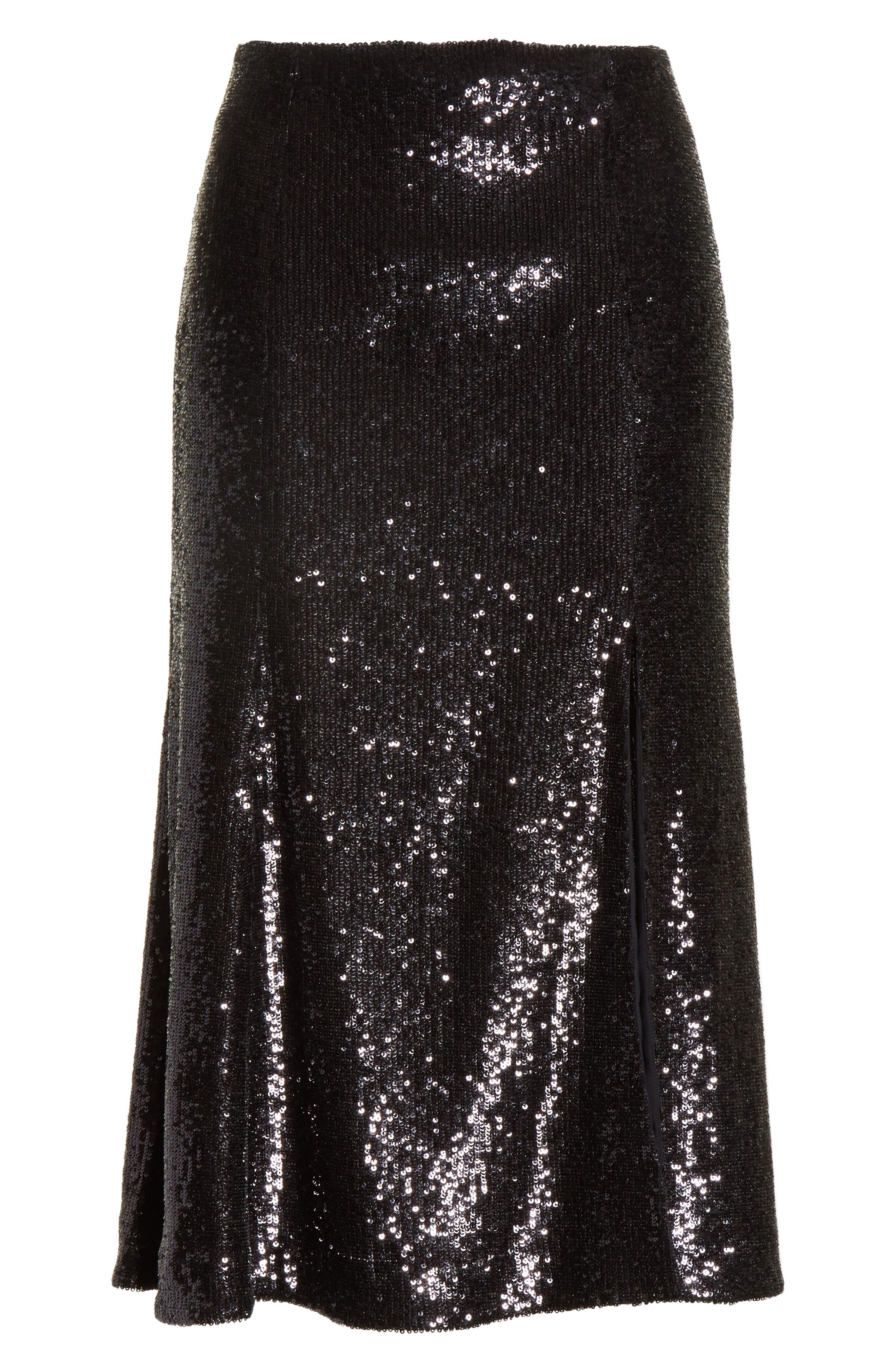 Braxton Sequin Skirt,                             Alternate thumbnail 6, color,                             001