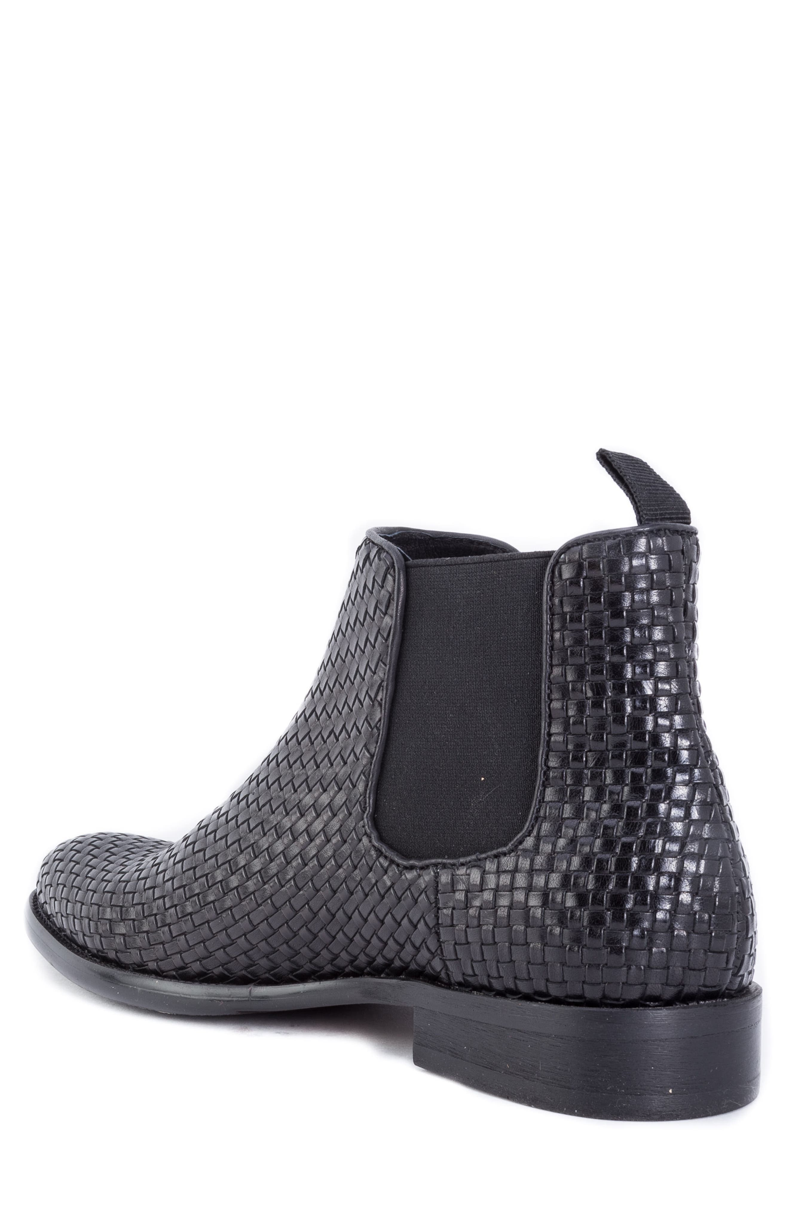 Woodward Woven Chelsea Boot,                             Alternate thumbnail 2, color,                             BLACK LEATHER