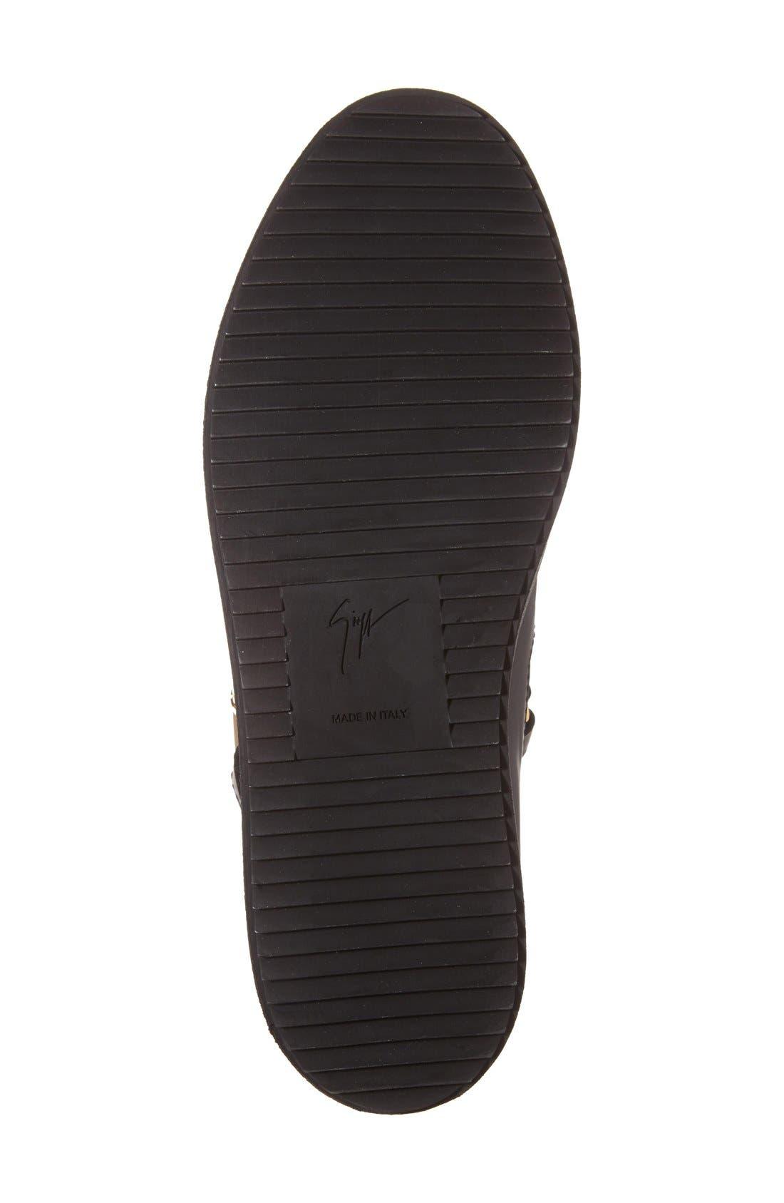 Side Zip High Top Sneaker,                             Alternate thumbnail 4, color,                             001