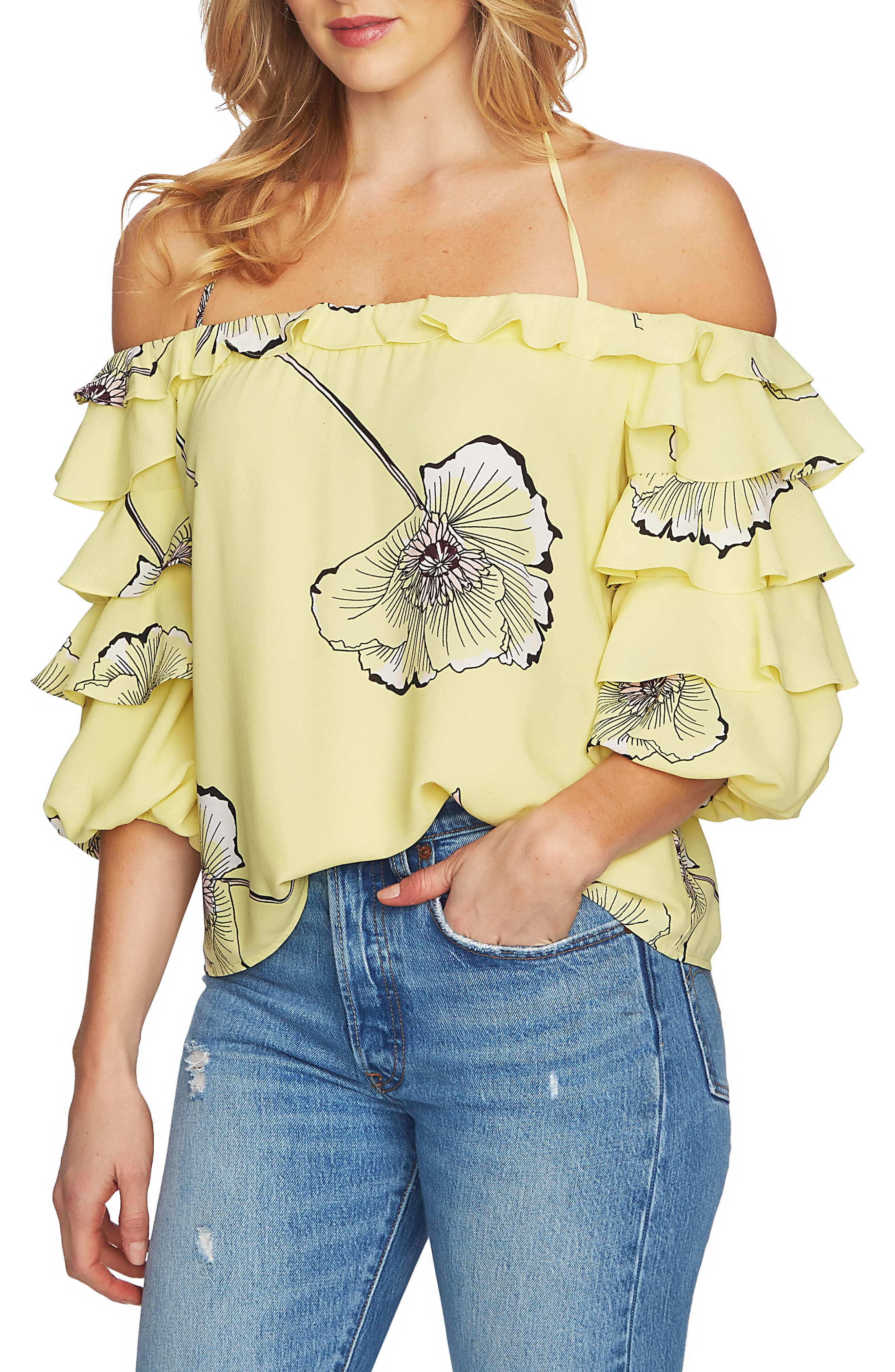 Tiered Sleeve Off the Shoulder Top,                             Main thumbnail 2, color,
