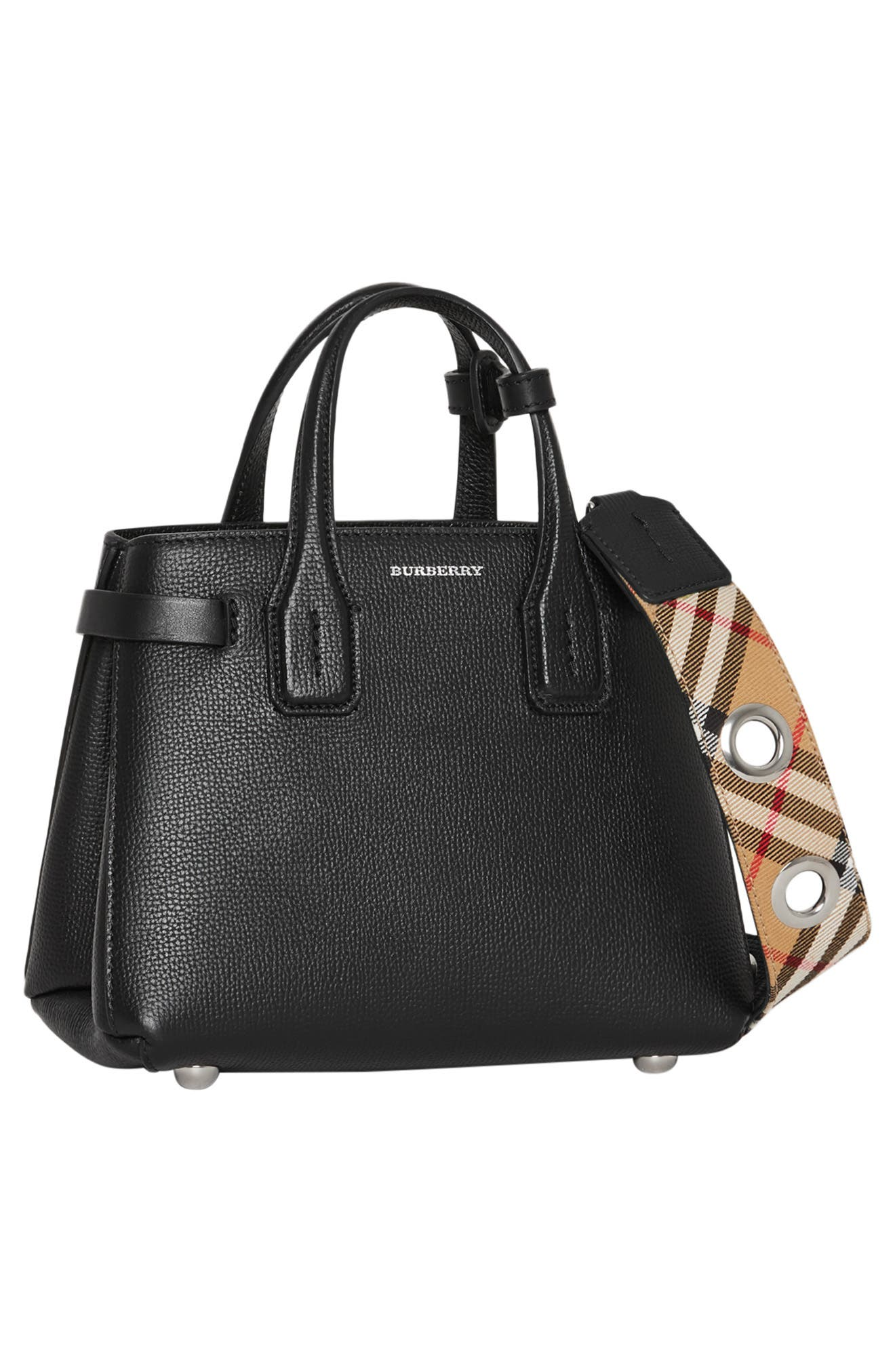 BURBERRY,                             Baby Banner Leather Satchel,                             Alternate thumbnail 11, color,                             BLACK