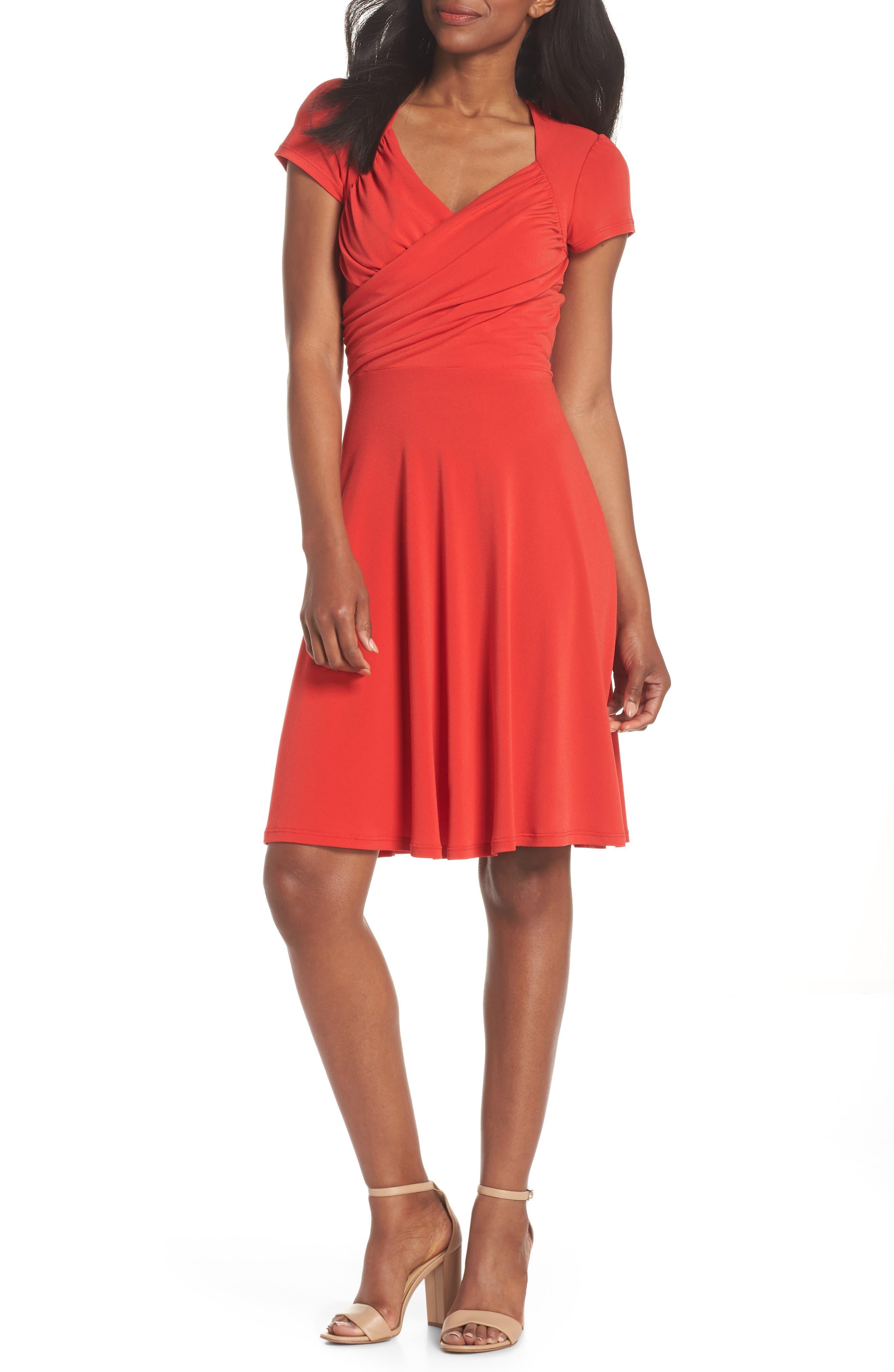 Leota Print Jersey Fit & Flare Dress, Red