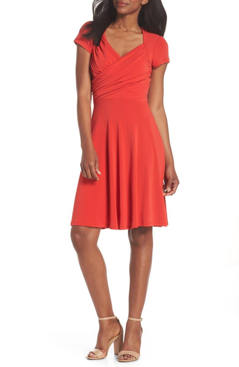 Leota PRINT JERSEY FIT & FLARE DRESS