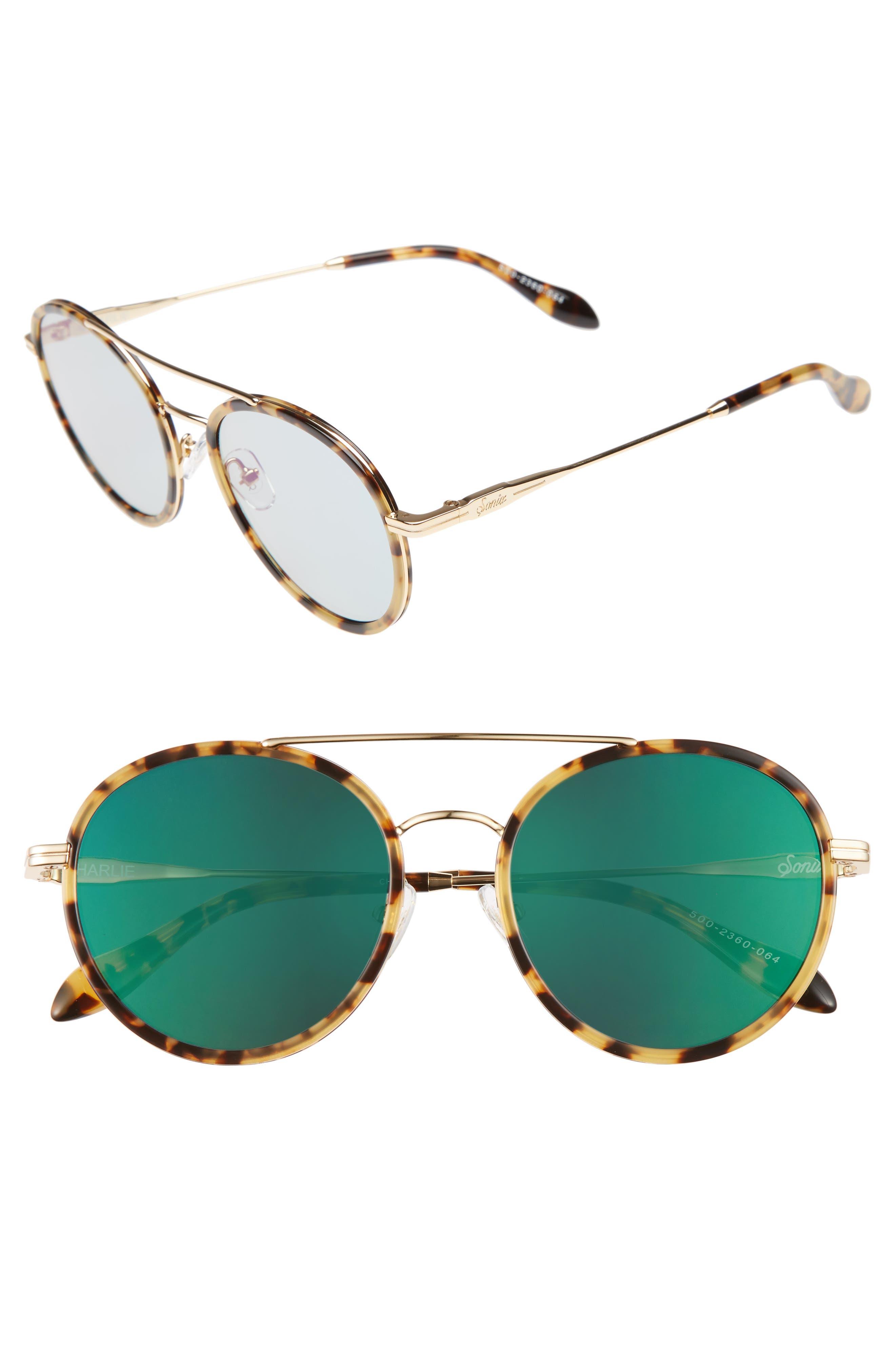Charli 50mm Mirrored Lens Round Sunglasses,                             Main thumbnail 3, color,