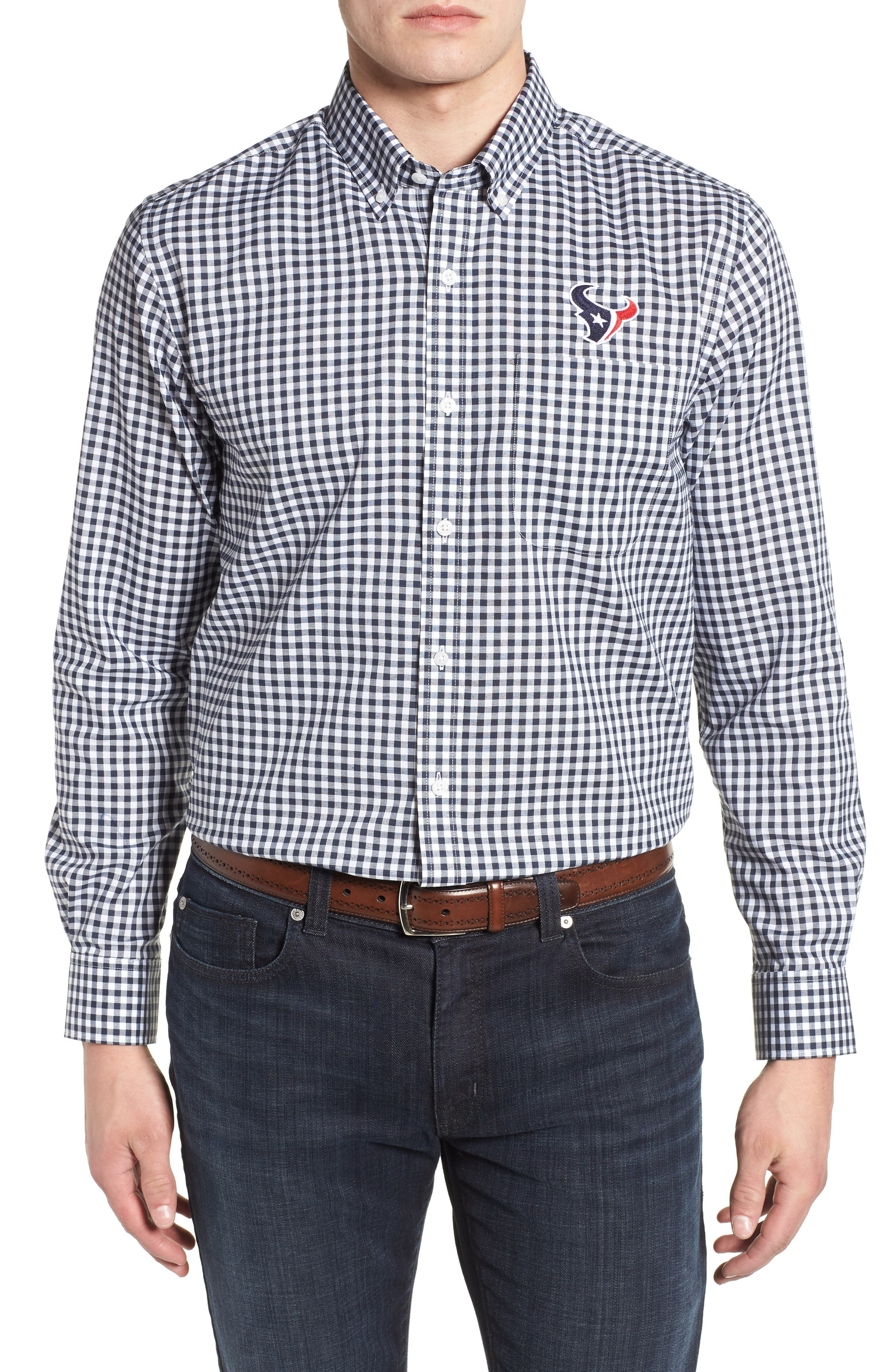 League Houston Texans Regular Fit Shirt,                             Main thumbnail 1, color,                             LIBERTY NAVY
