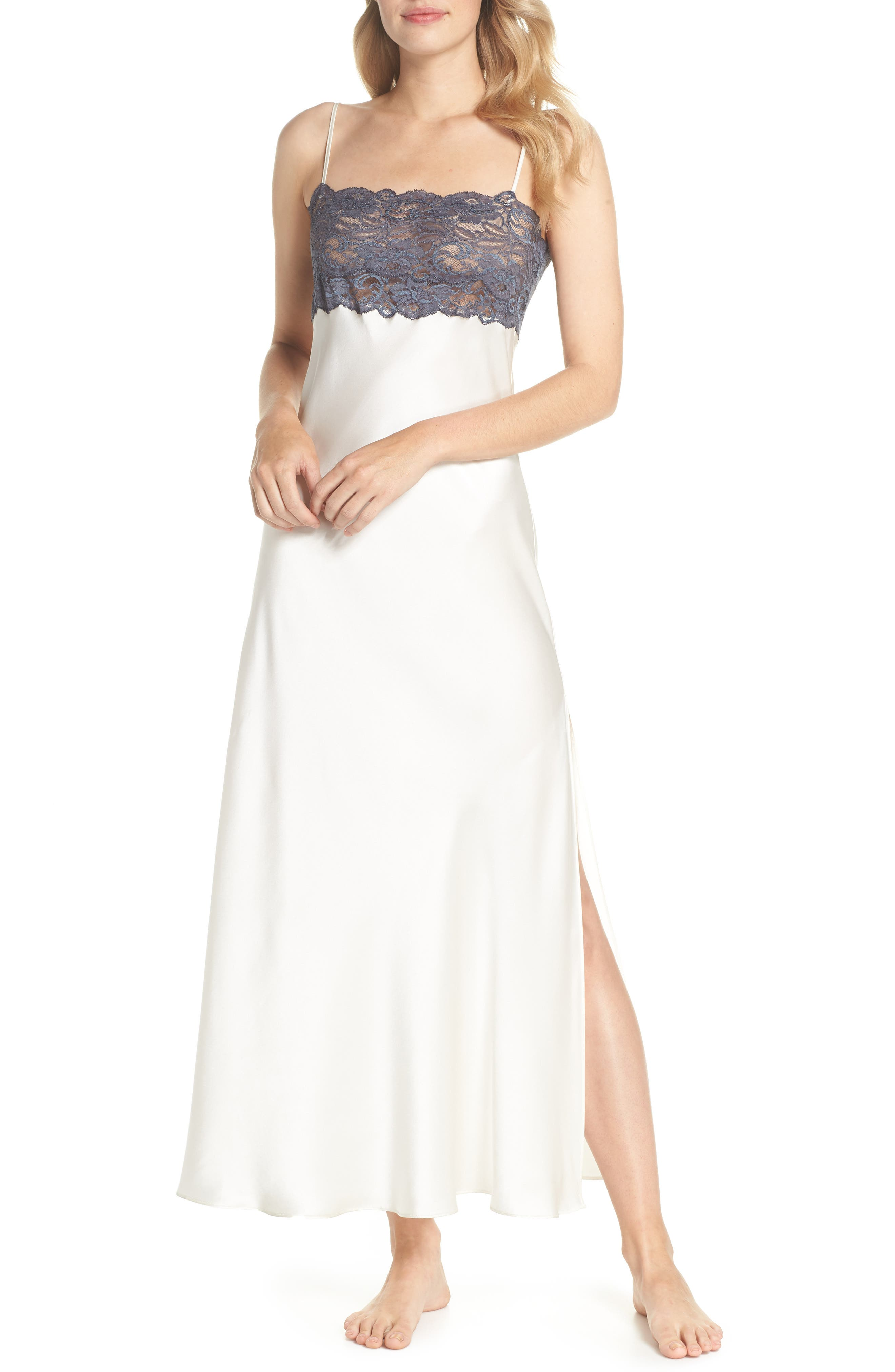 Christine Stretch Lace Silk Nightgown,                             Main thumbnail 1, color,                             900