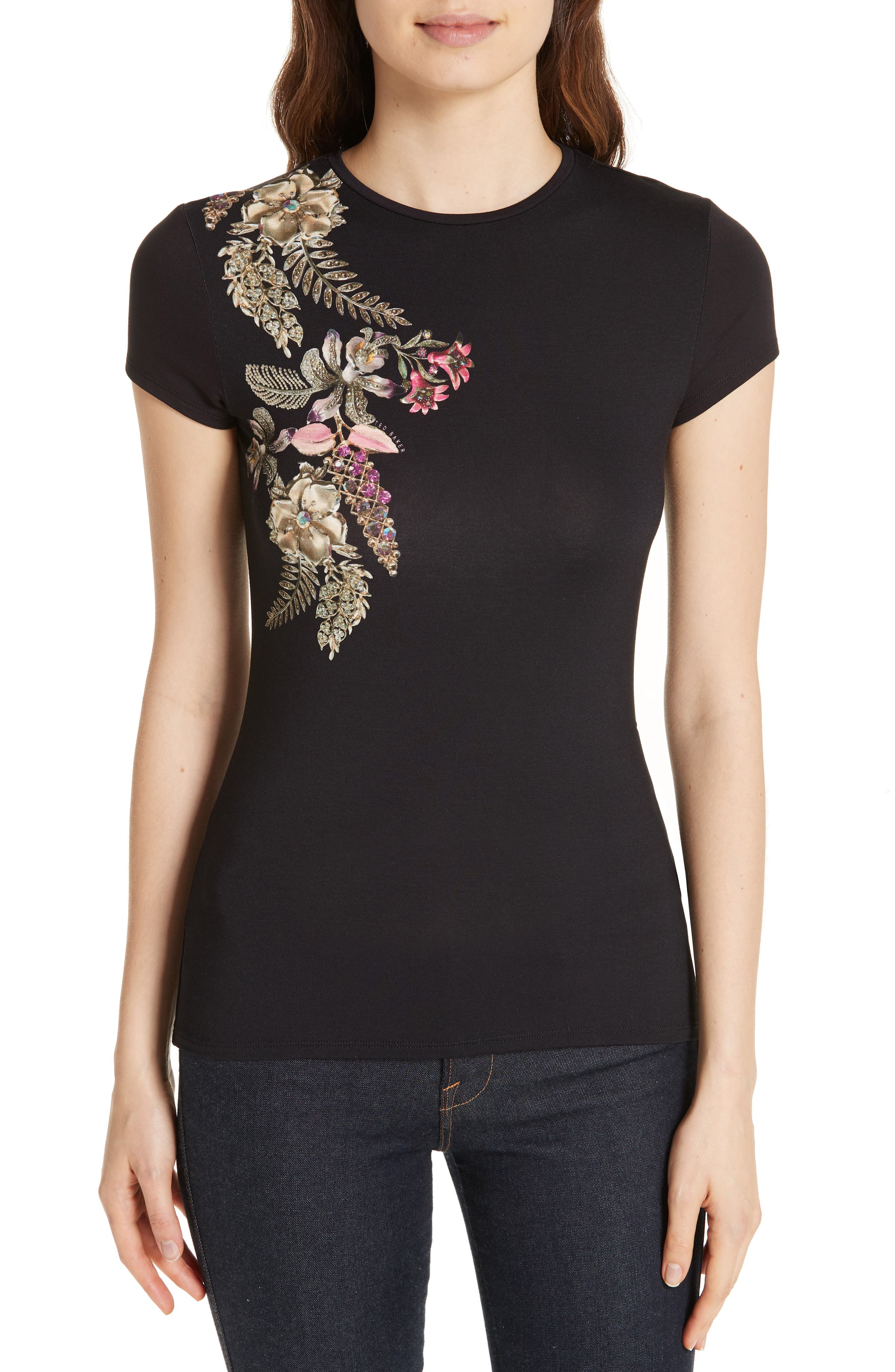 Hallie Pirouette Fitted Tee,                         Main,                         color, BLACK