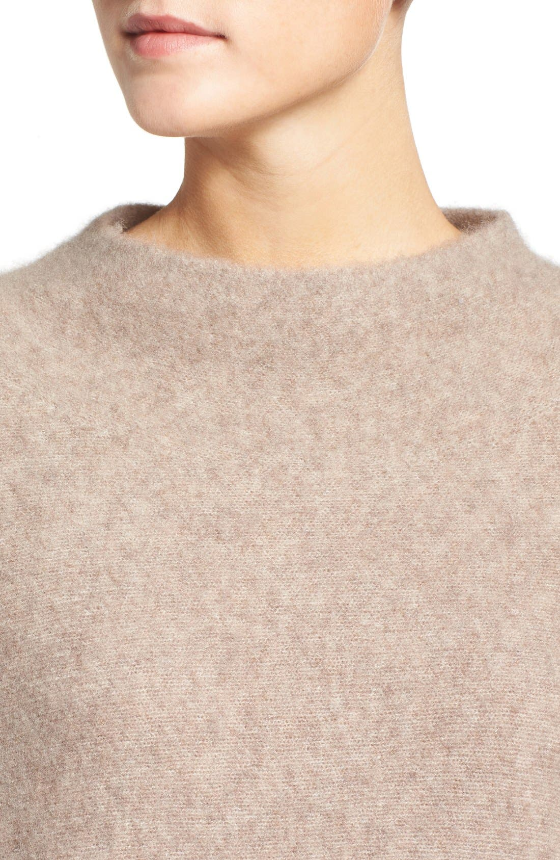 'Bouclé Bliss' Cashmere & Silk Blend Funnel Neck Sweater,                             Alternate thumbnail 16, color,